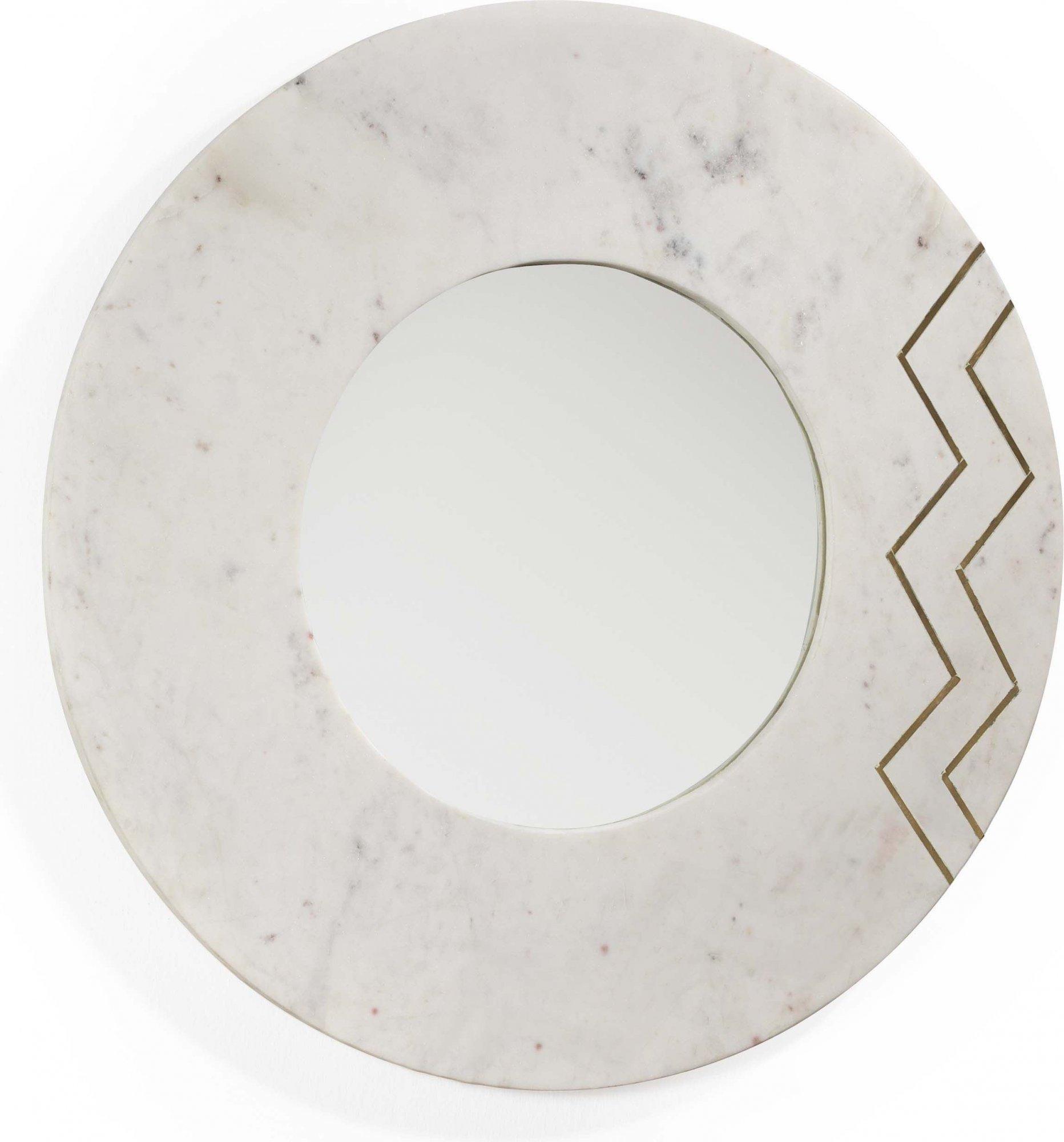 Miroir rond en marbre blanc d69