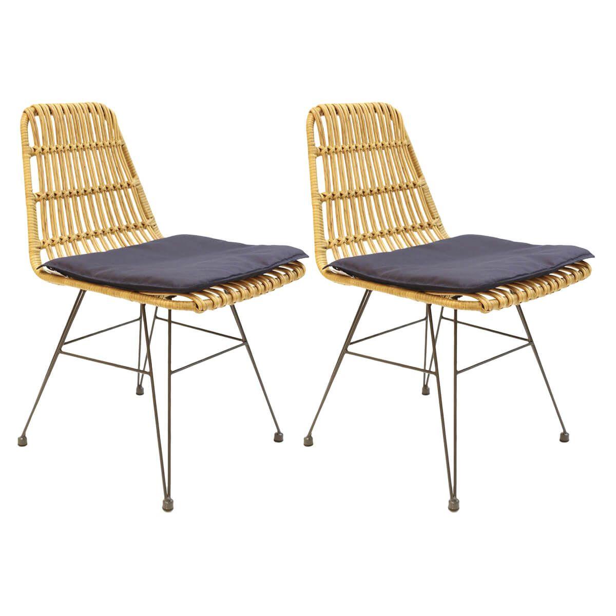 Lot de 2 chaises tressées marron avec pieds métal