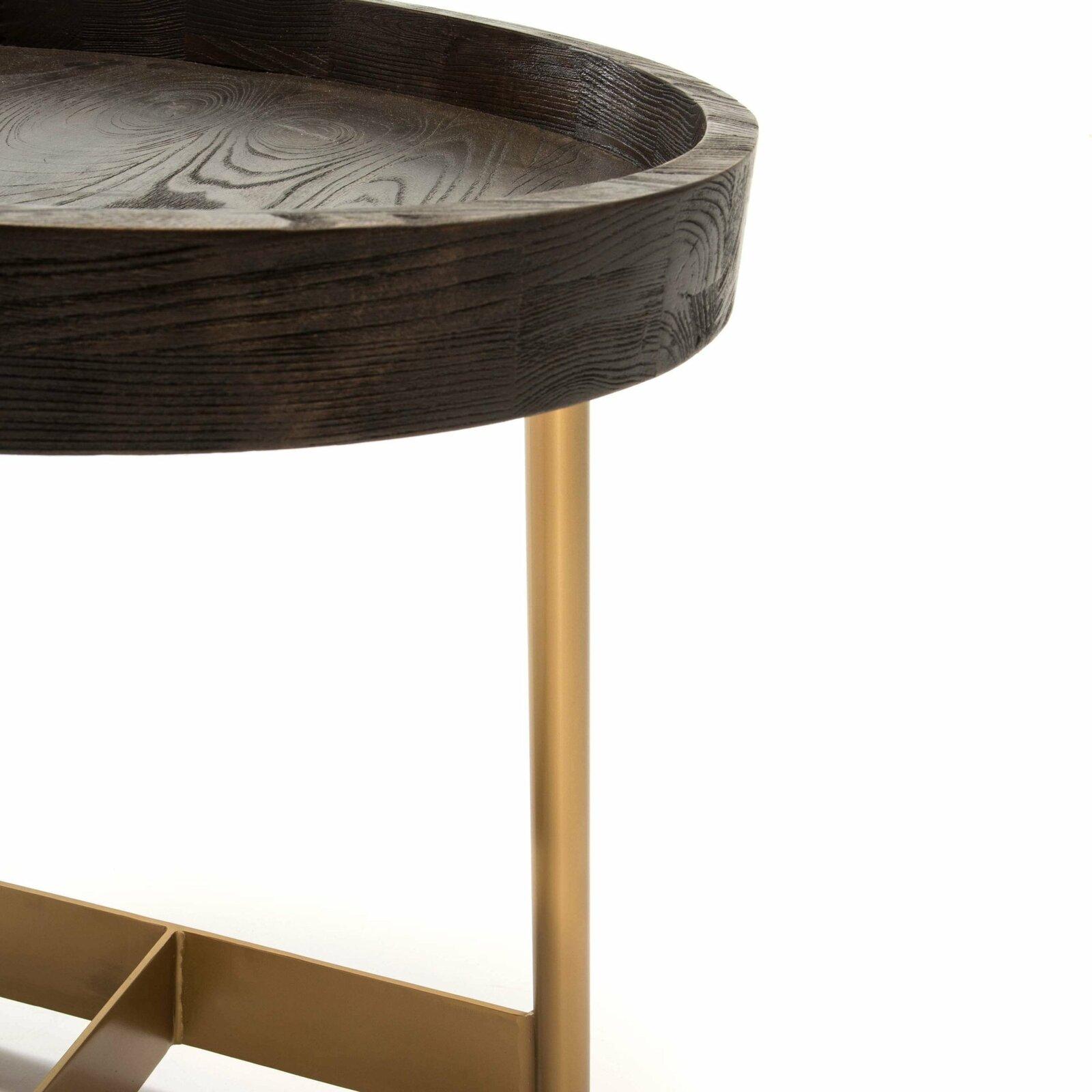 Table d'appoint ronde pied doré plateau noir d55cm