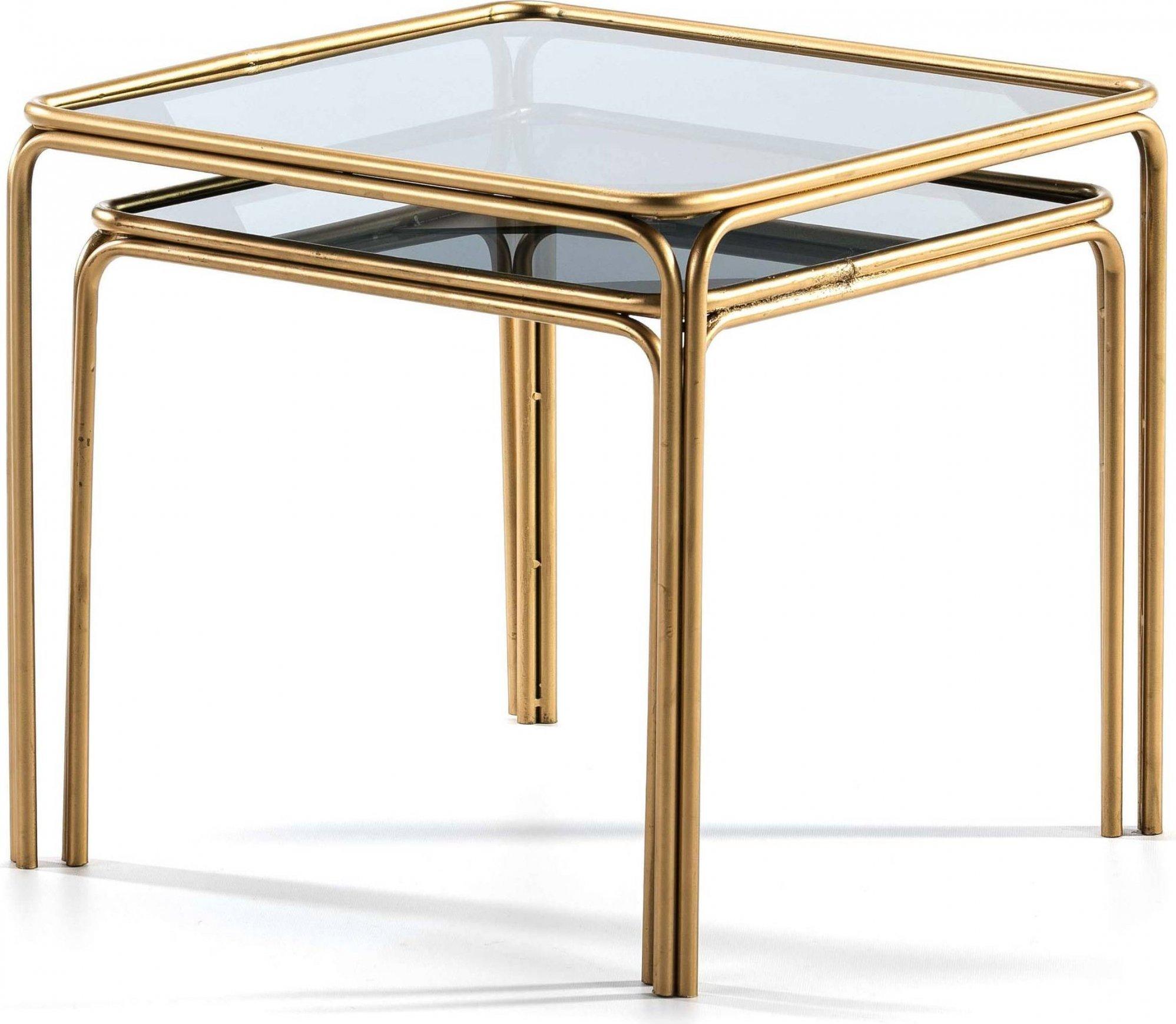 Table gigogne carrée plateau verre l51cm