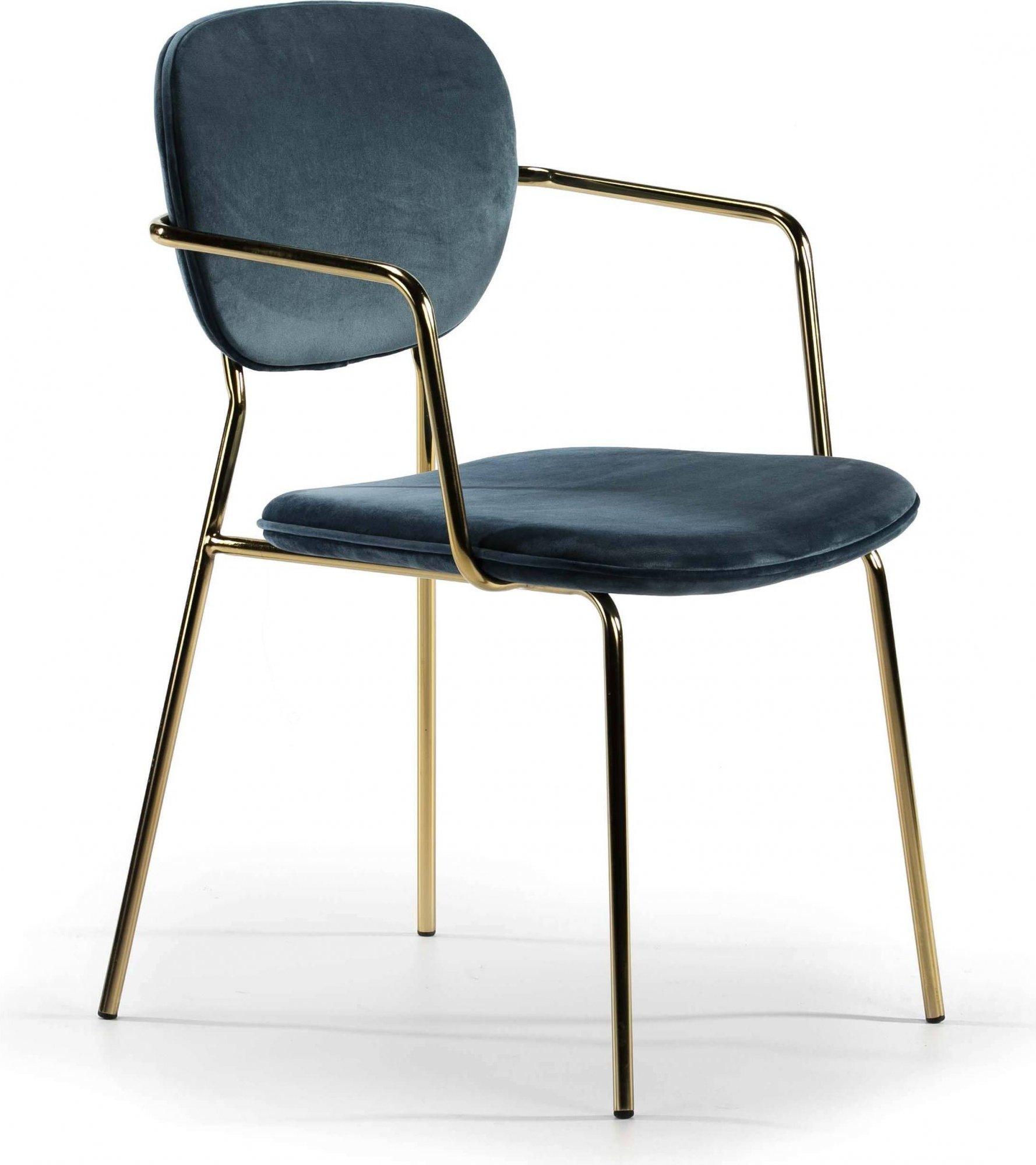 Chaise design rembourrée bleu pétrole pietement doré