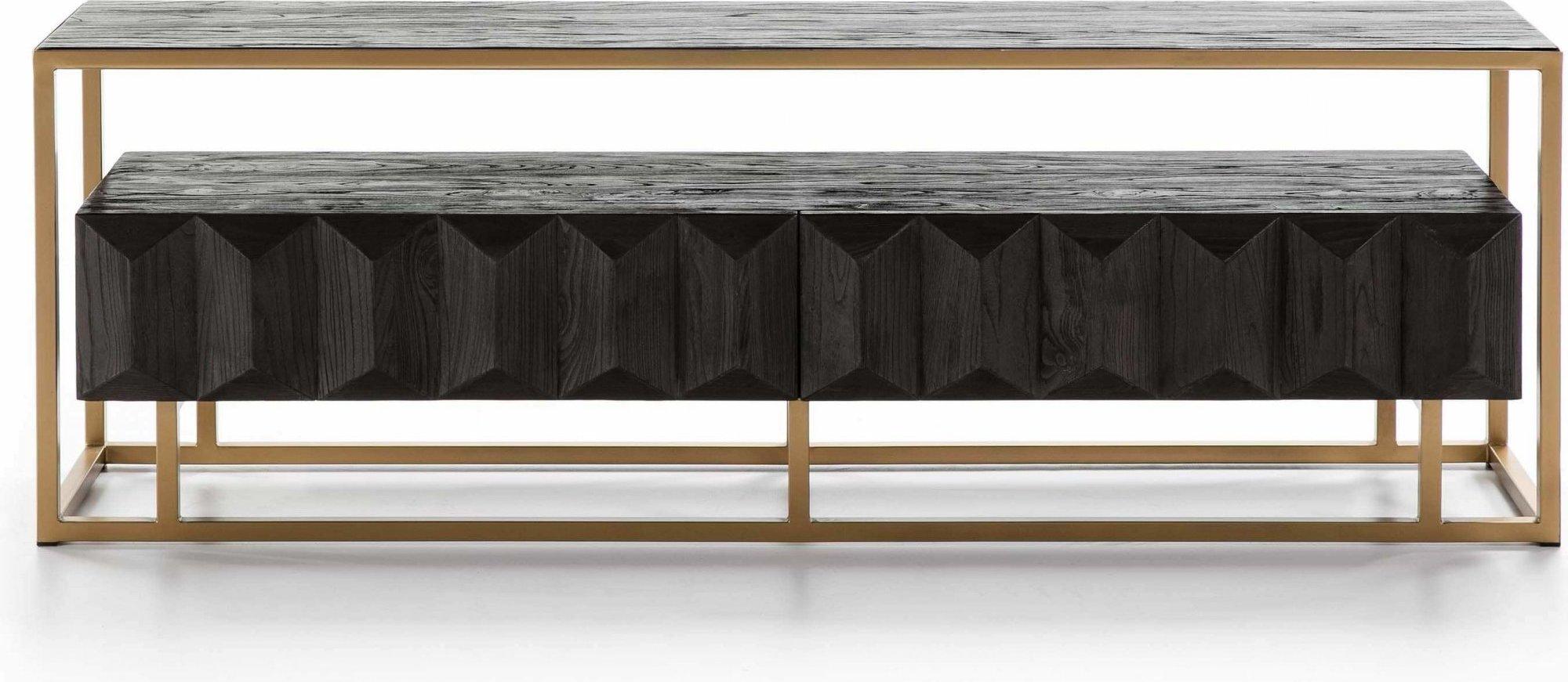 Meule tv en bois cérusé marron structure métal doré l180cm