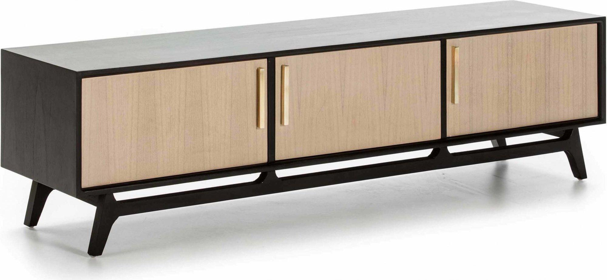 Meuble tv en bois couleur noir et bois clair l160cm
