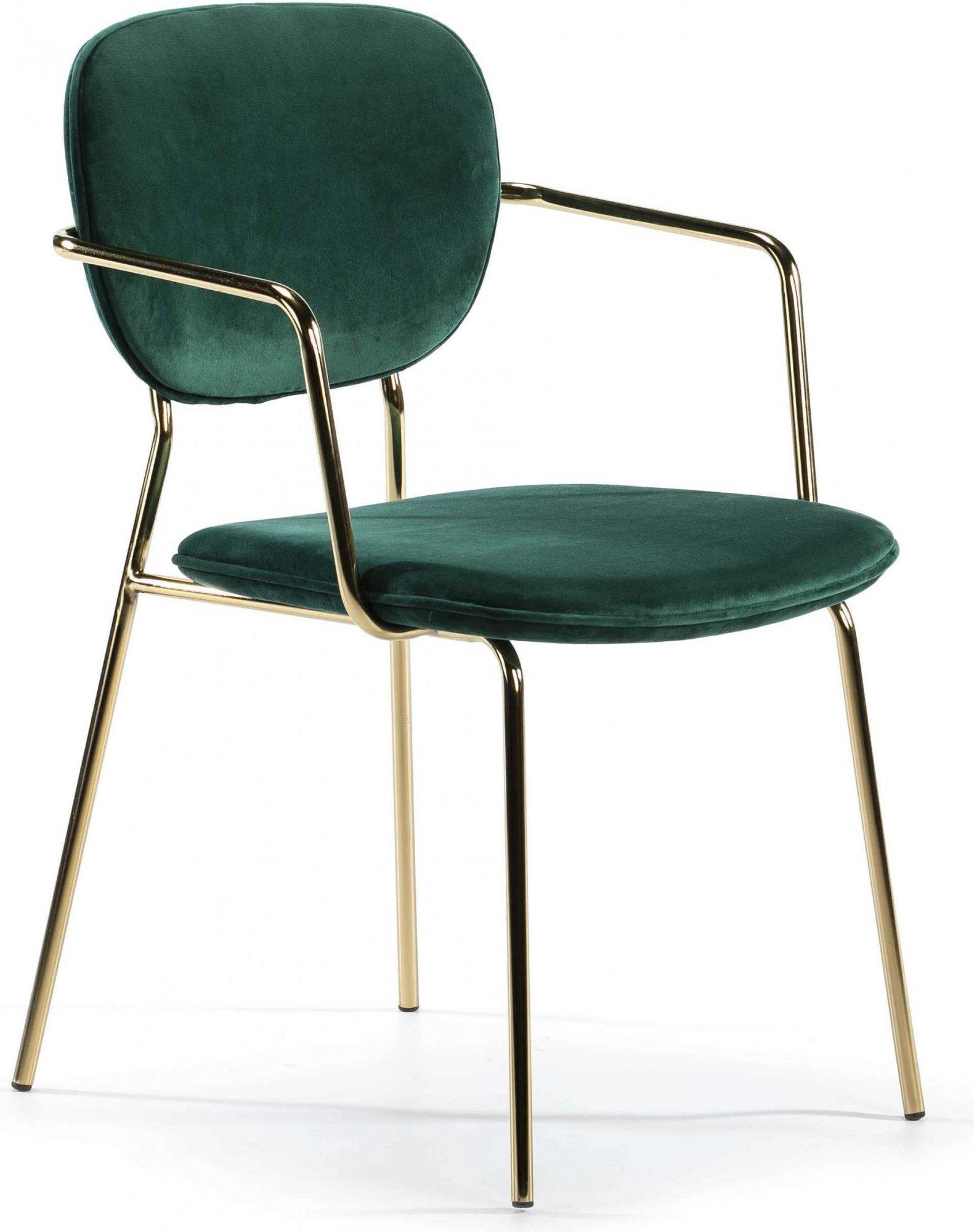Chaise design rembourrée vert bouteille pietement doré