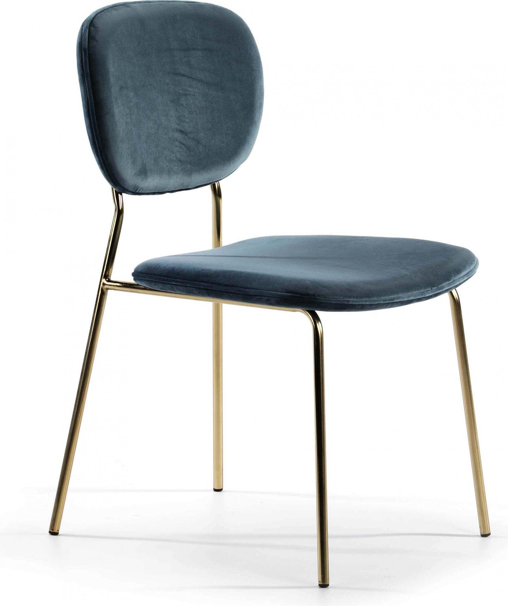 Chaise design rembourrée couleur bleu pétrole pieds doré