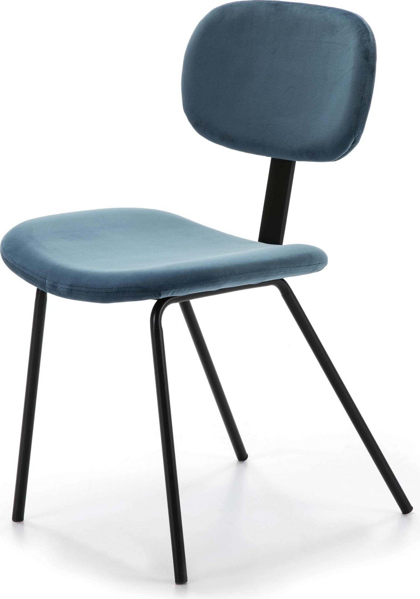 maison du monde Chaise design rembourrée couleur bleu pétrole pieds noir