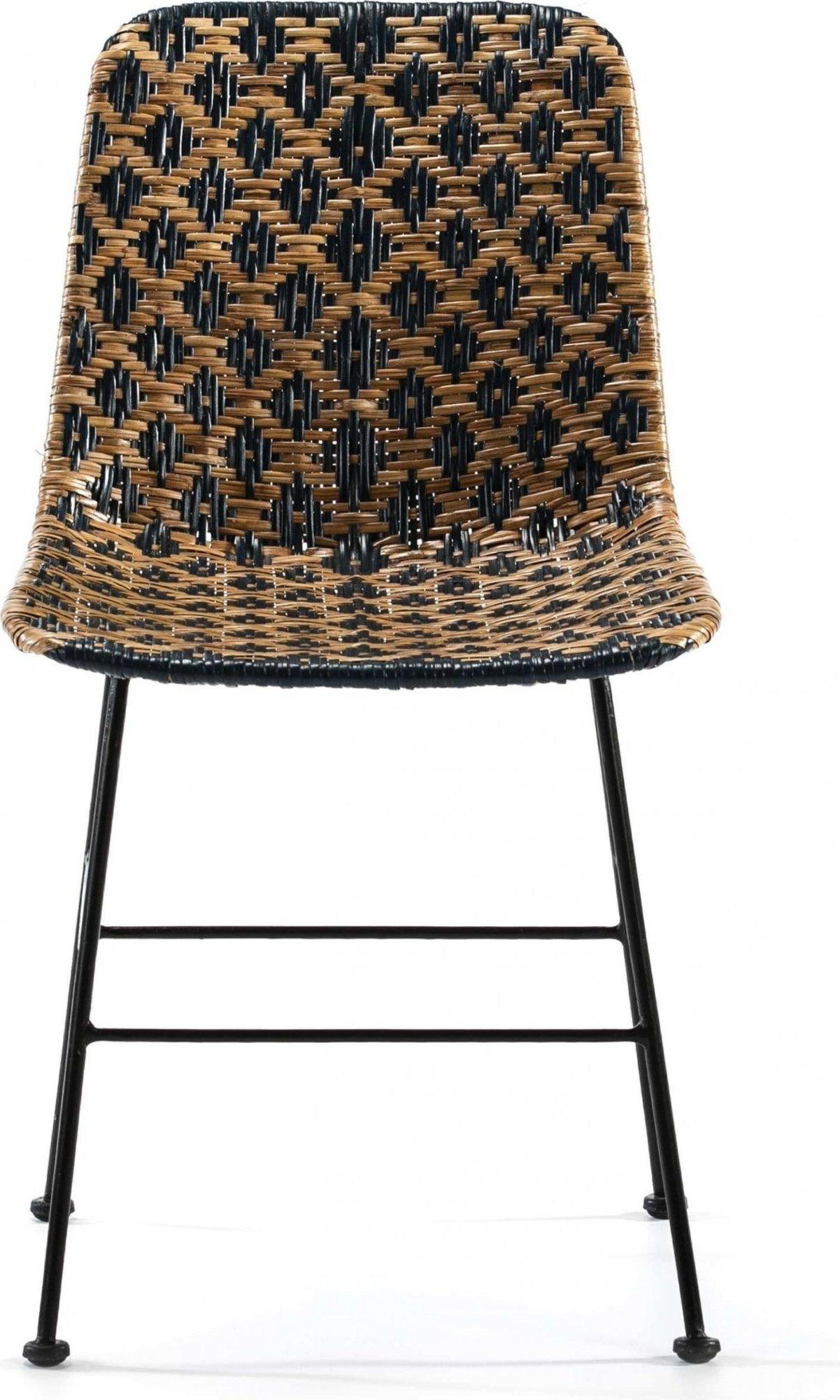 Chaise cannage assise couleur noir et bois foncé