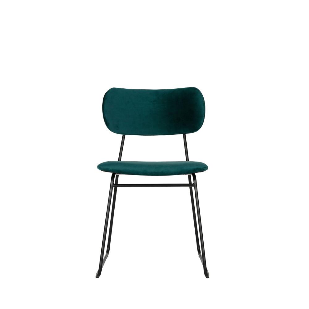 2 chaises en velours bleu pétrole