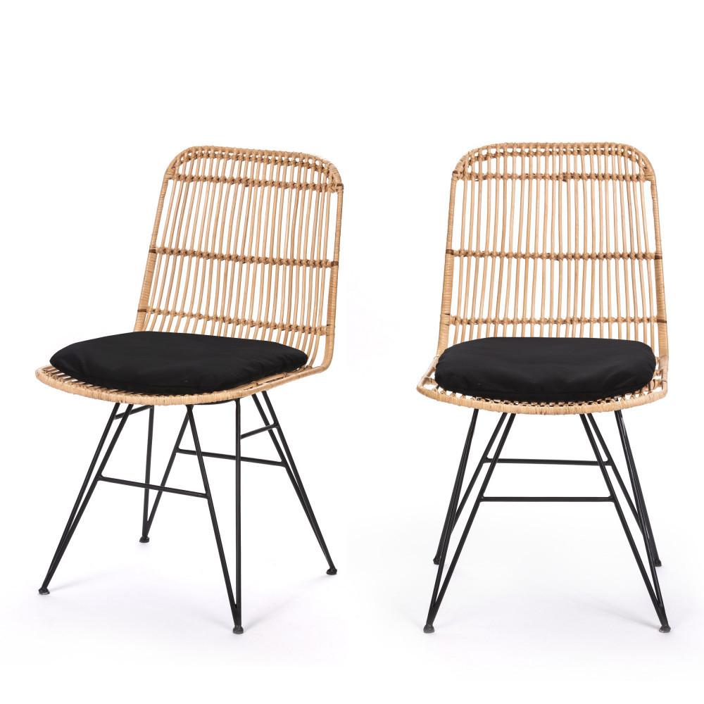 2 chaises design en rotin