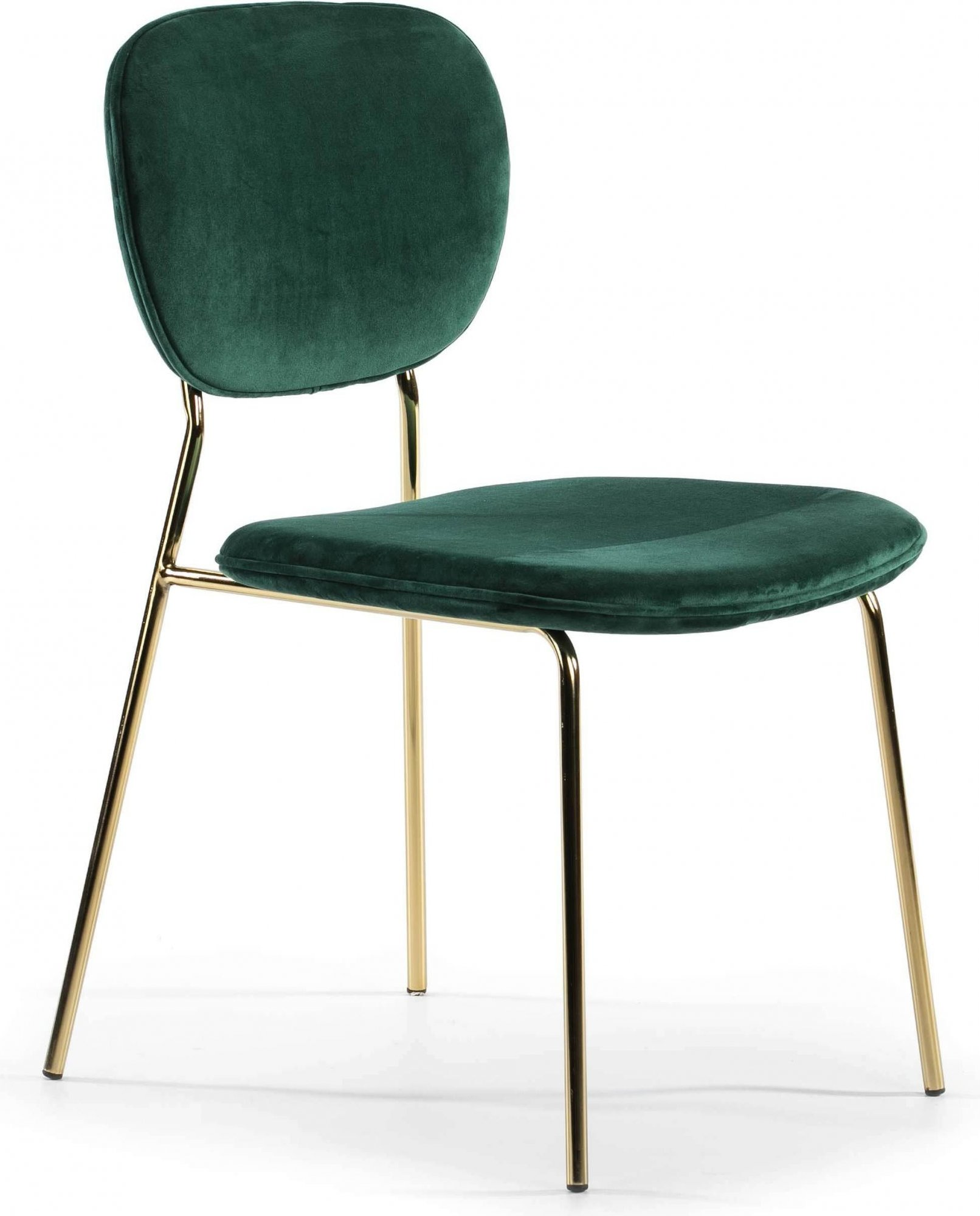 Chaise design rembourrée couleur vert pietement doré
