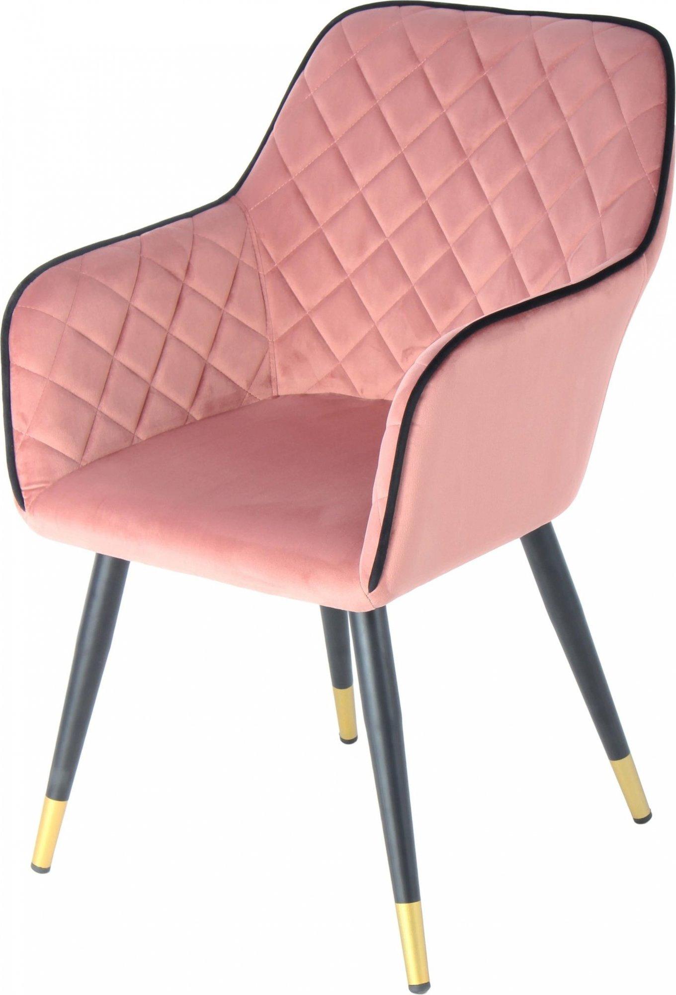 Fauteuil design rembourrée velours rose pieds noir et doré