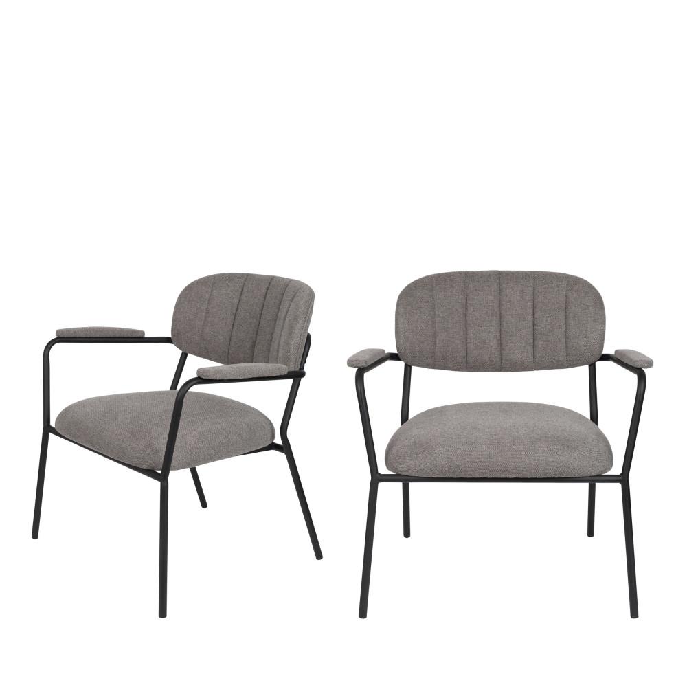 2 fauteuils pieds noirs gris