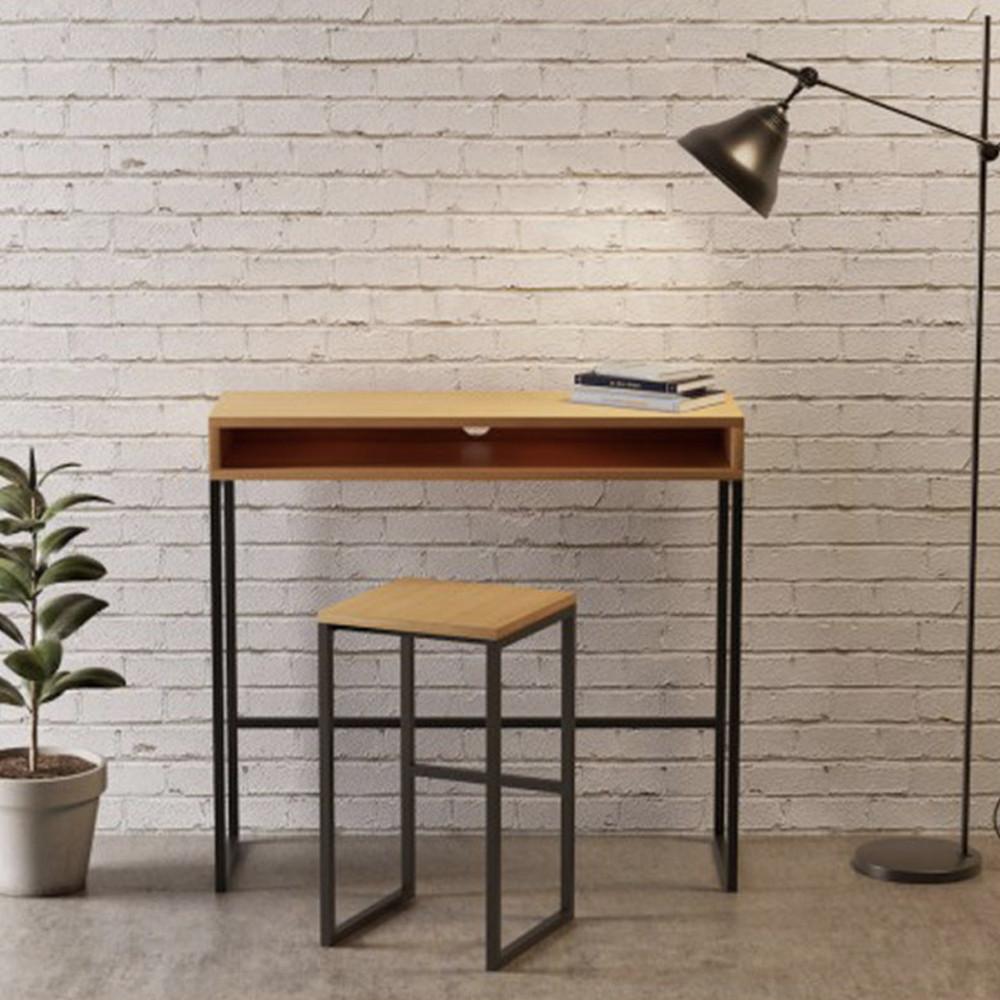 Tabouret de bar métal et chêne bois clair  et  noir