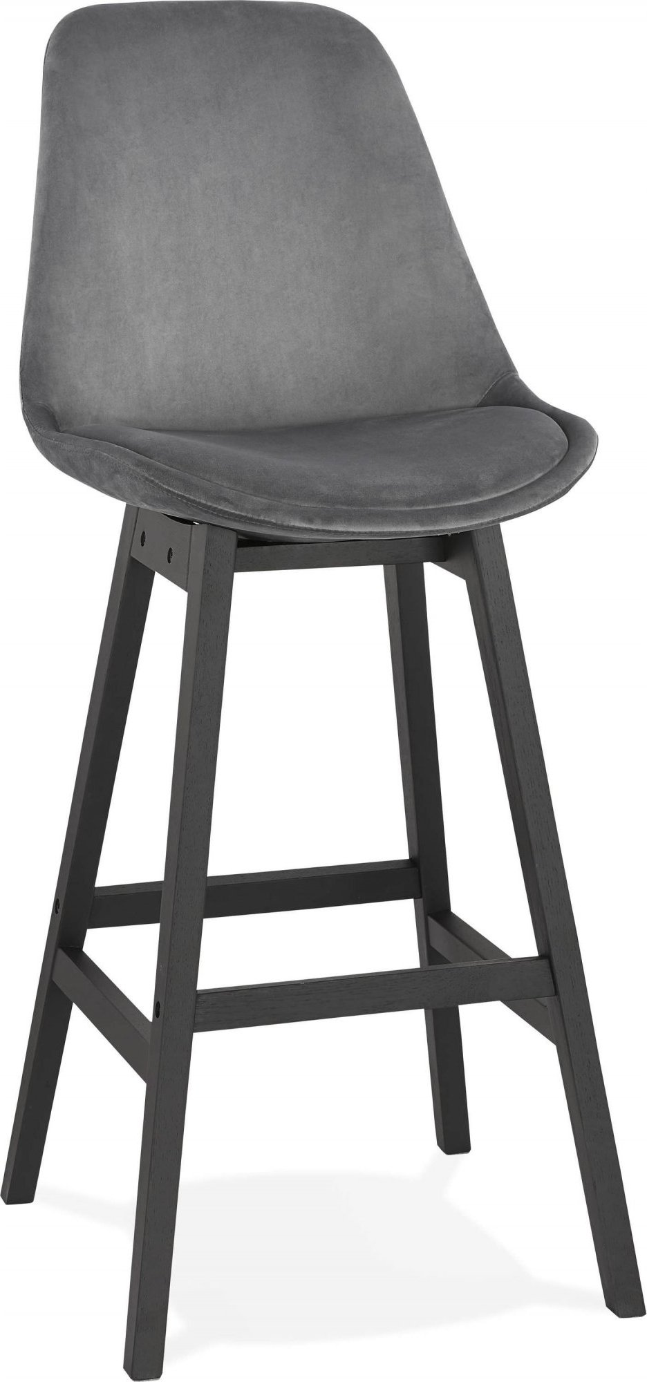 Tabouret de bar en velour gris et bois noir h113cm