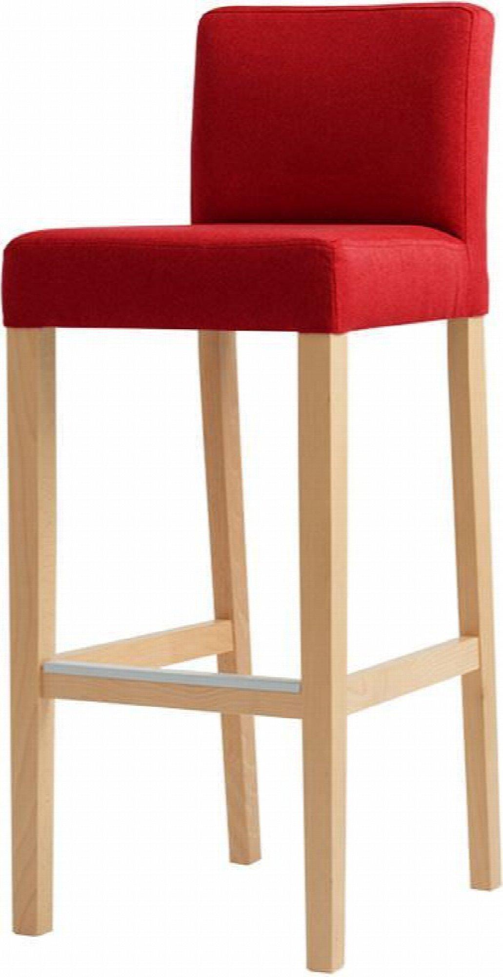 maison du monde Chaise de bar tissu rembourrée rouge pieds bois massif clair