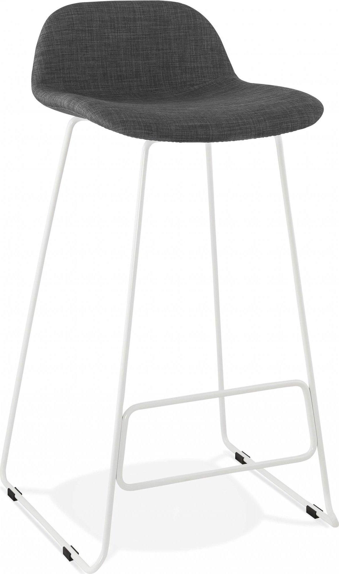 Tabouret de bar en tissu gris et métal blanc h95cm