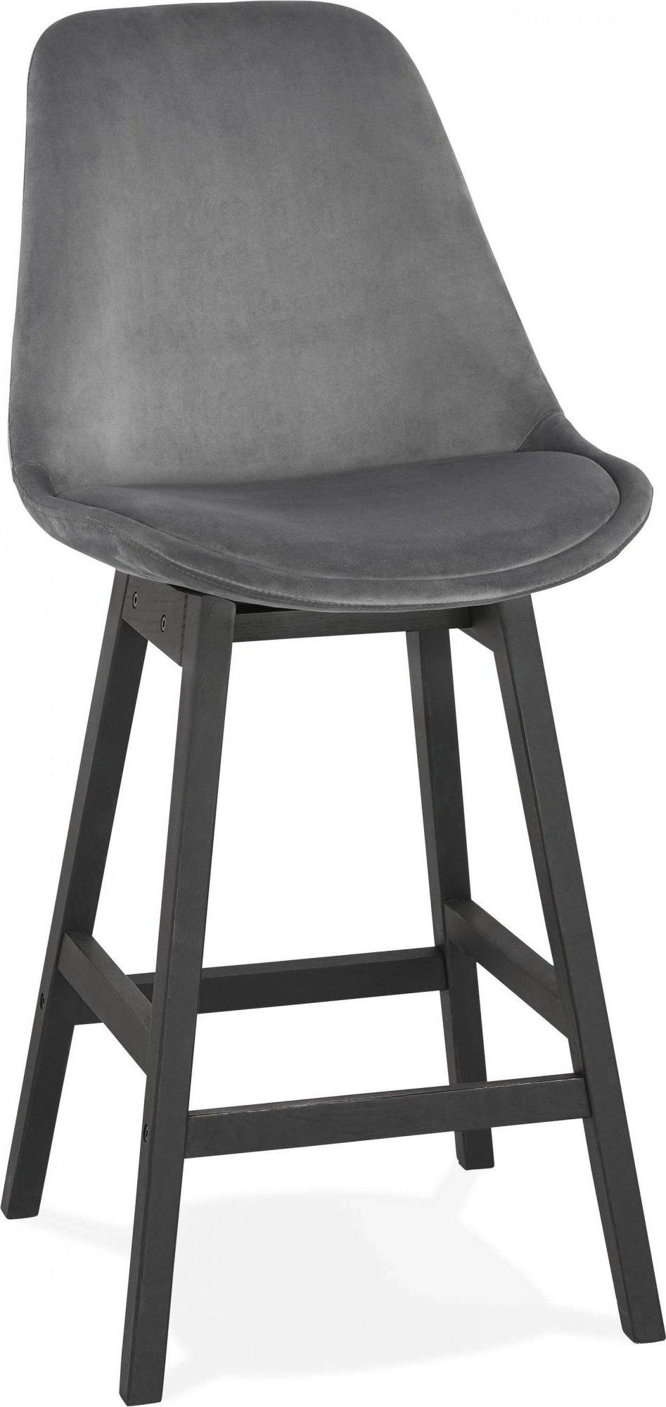 Tabouret de bar en velour gris et bois noir h103cm