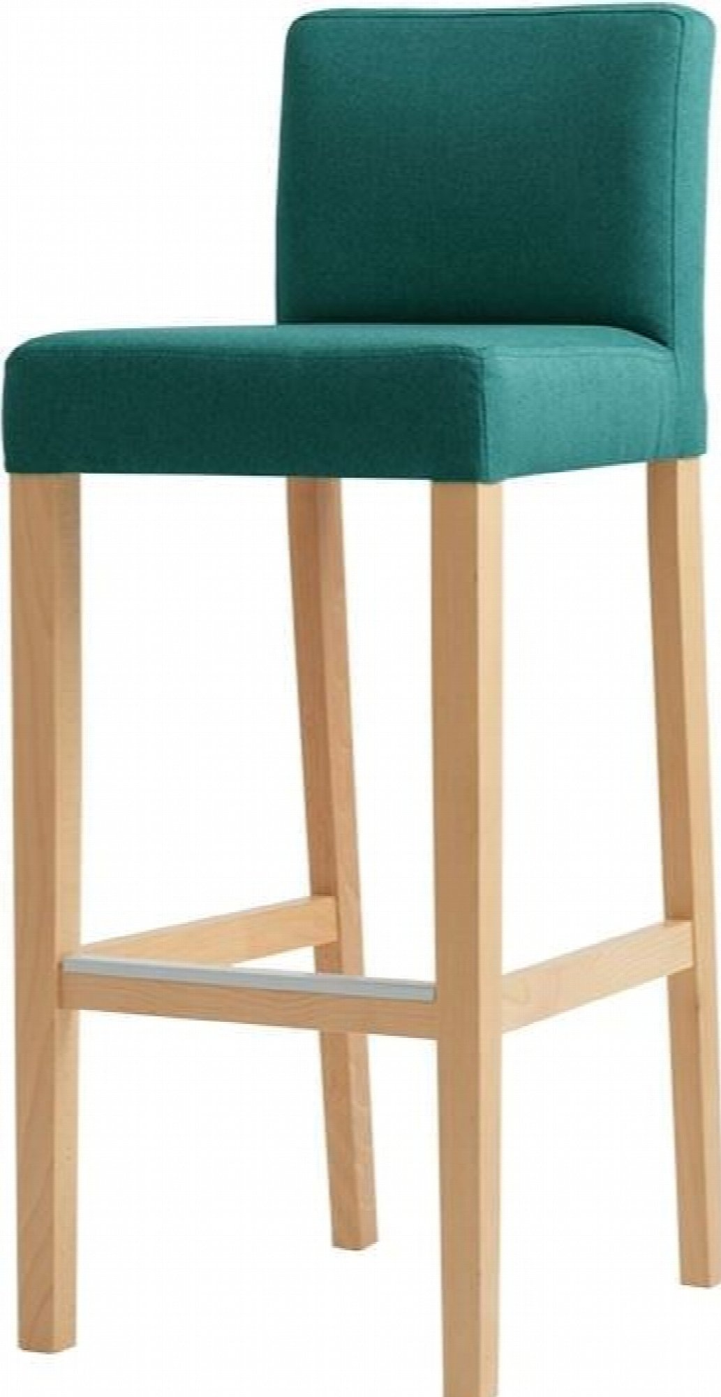 Chaise de bar tissu rembourrée vert pieds bois massif clair
