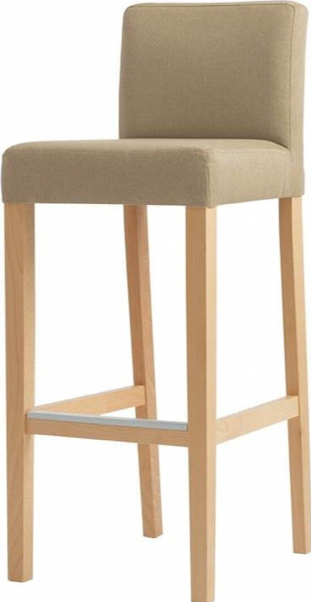 maison du monde Chaise de bar tissu rembourrée beige pieds bois massif clair