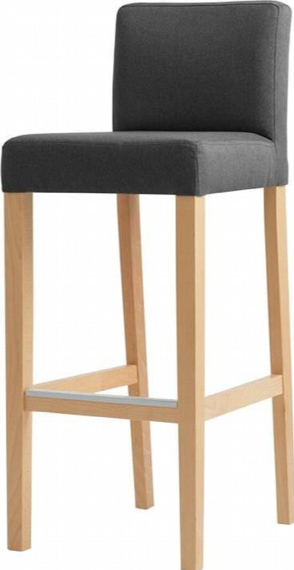 maison du monde Chaise de bar tissu rembourrée gris foncé pieds bois clair