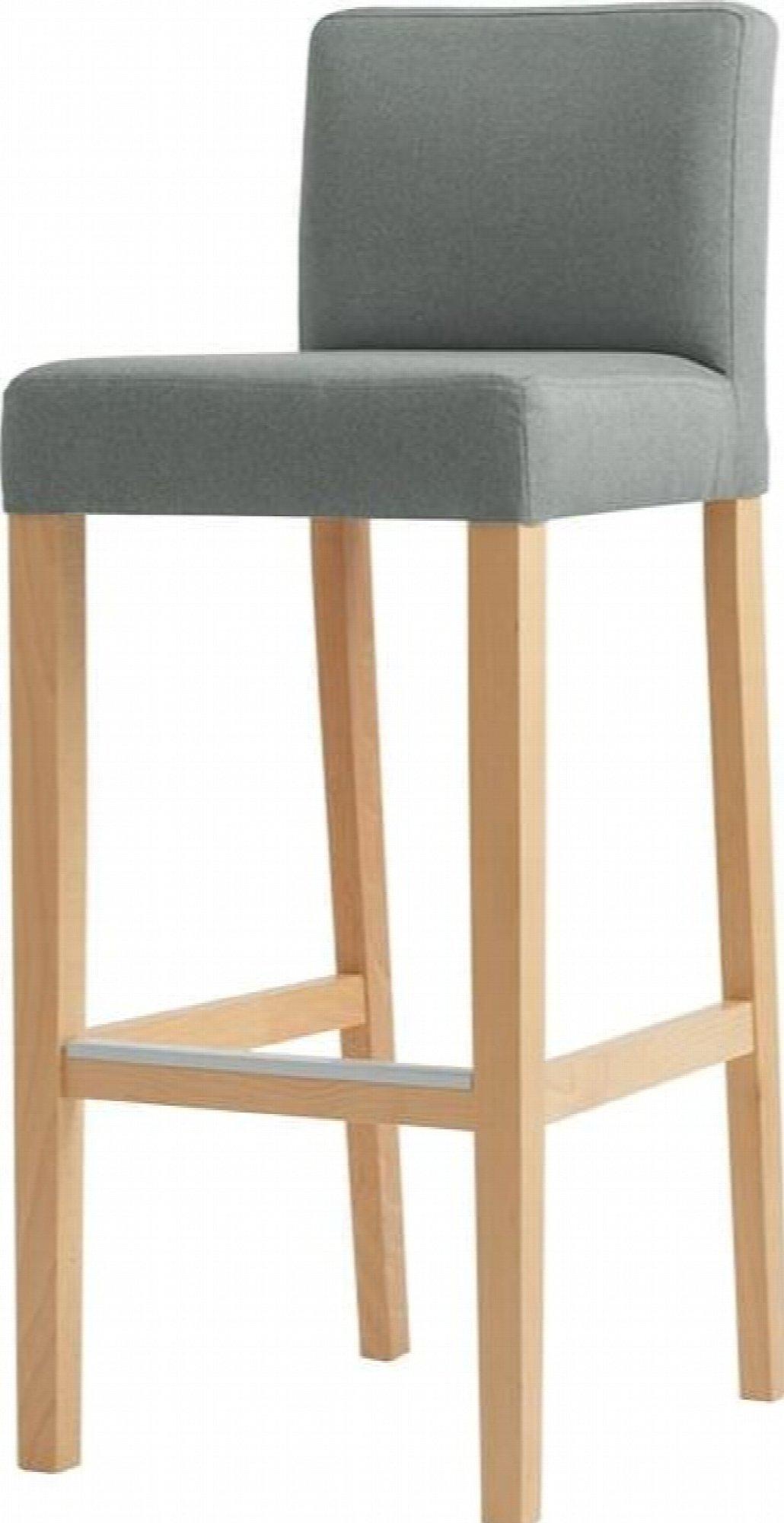 maison du monde Chaise de bar tissu rembourrée gris pieds bois massif clair