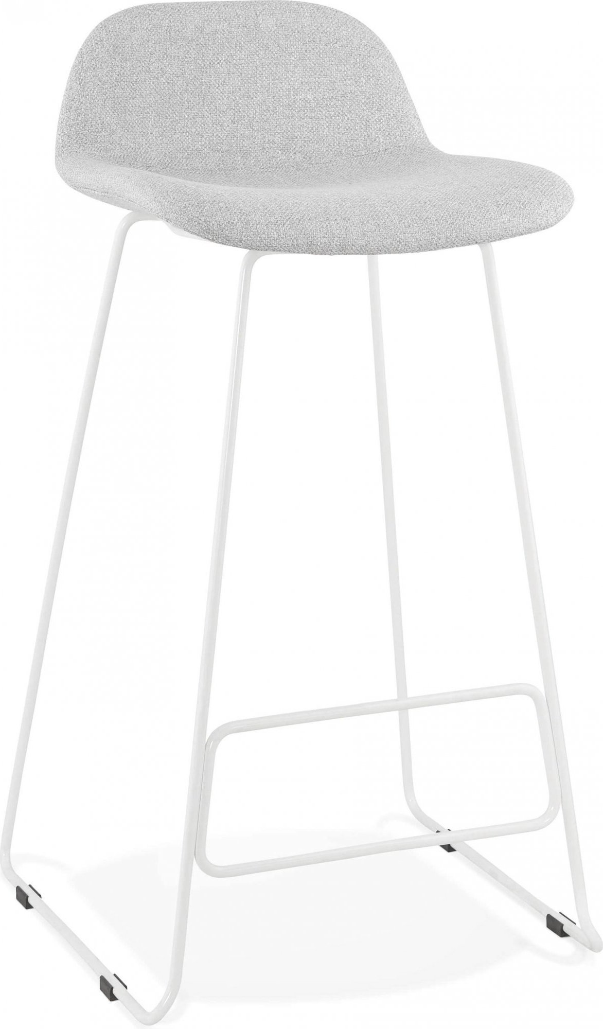 Tabouret de bar en tissu gris clair et métal blanc h95cm