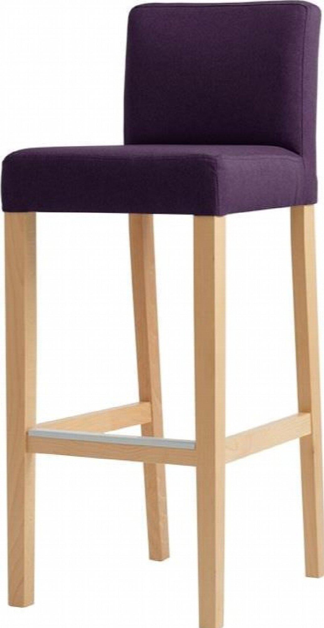 maison du monde Chaise de bar tissu rembourrée violet pieds bois massif clair