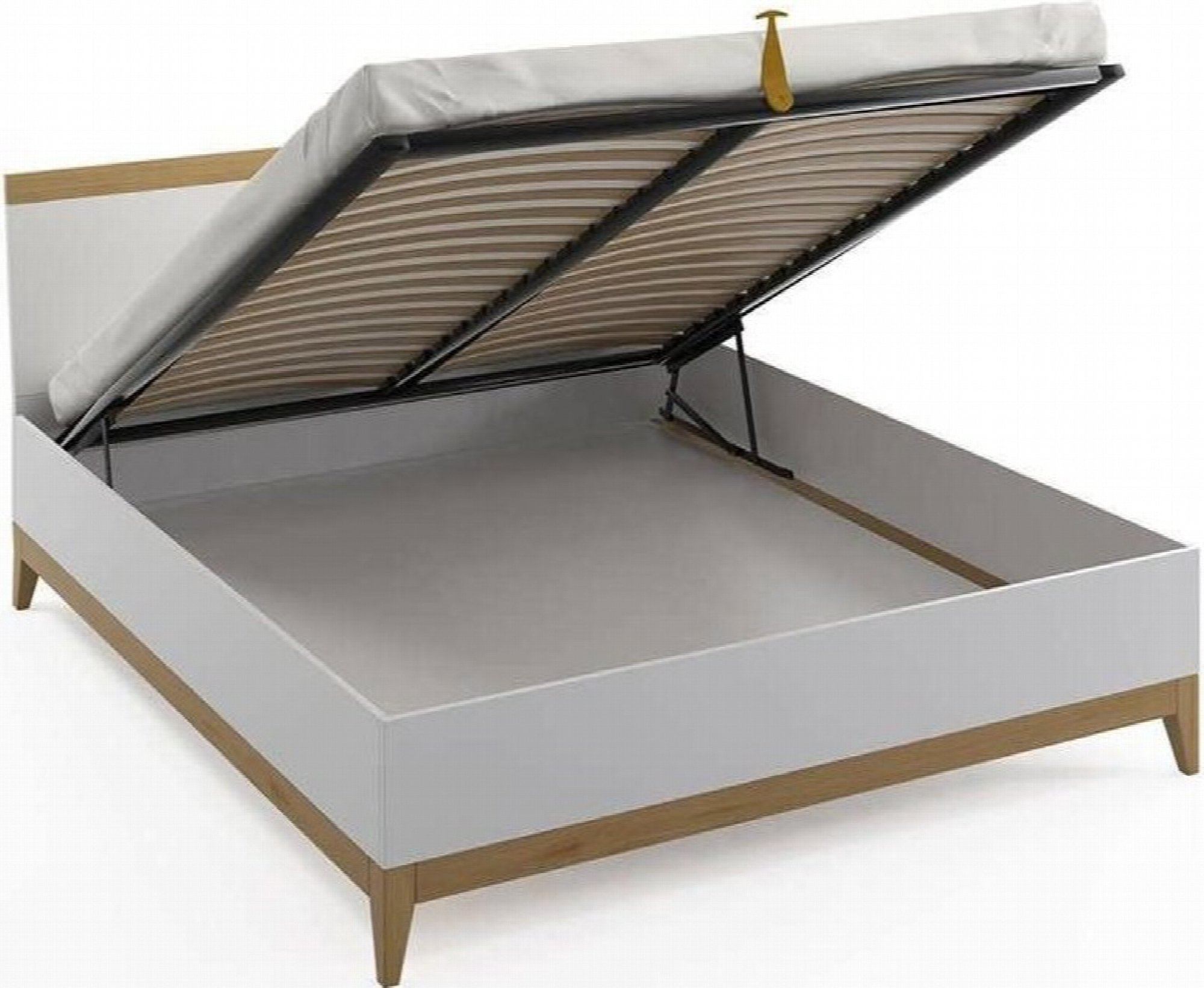 Lit coffre avec tête de lit sommier massif blanc 180x200cm