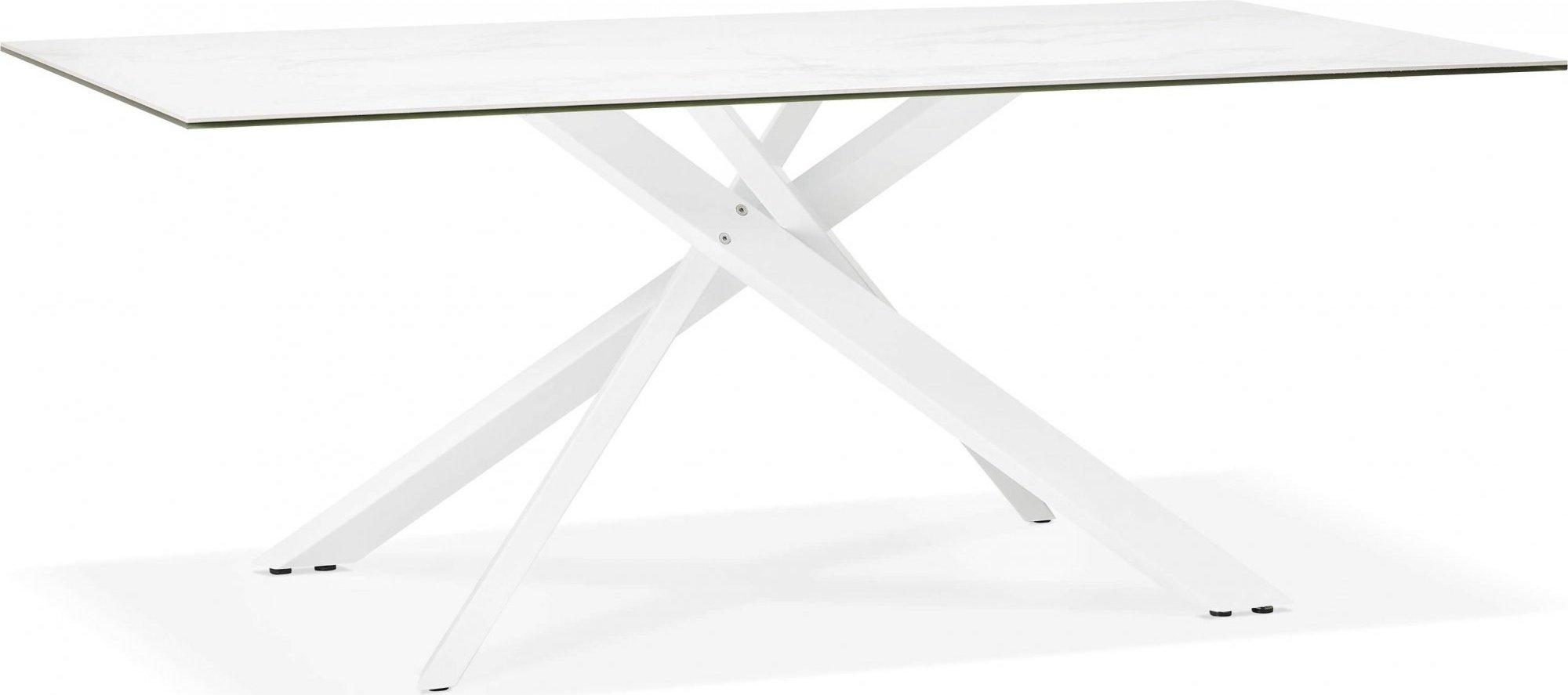 Table à diner en verre blanc pieds acier laqué blanc l180cm