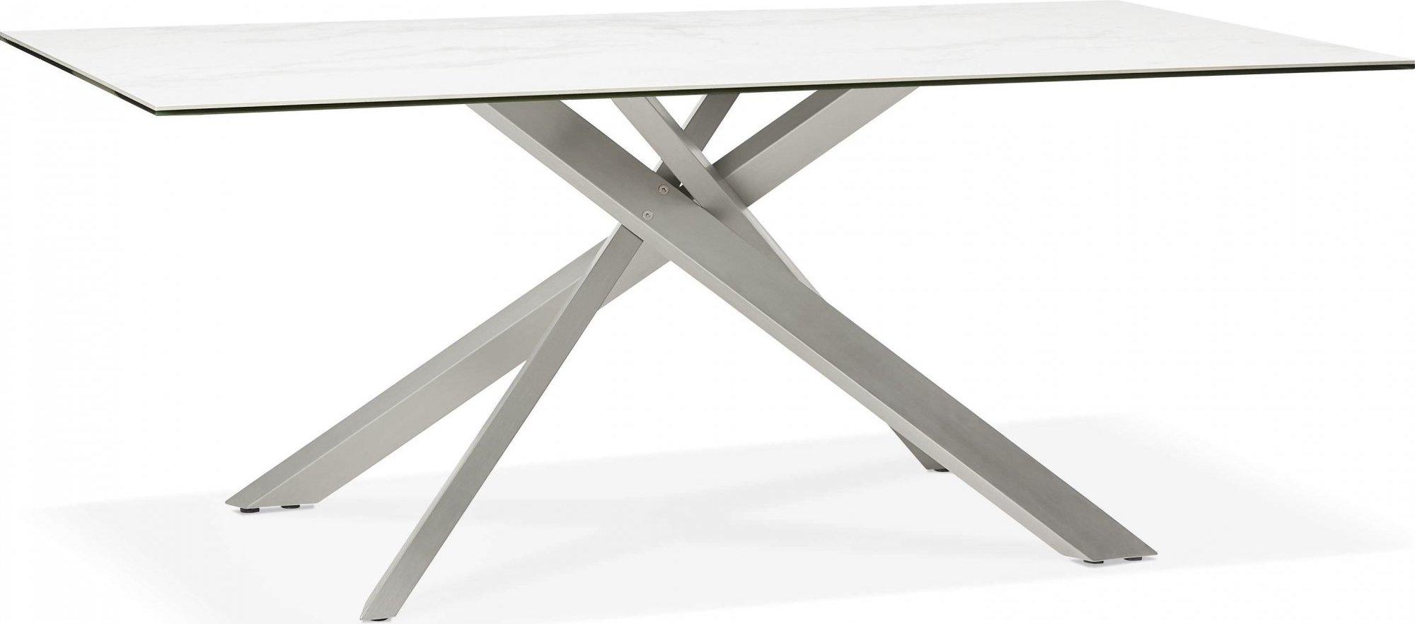 Table à diner en verre blanc pieds acier brossé l180cm
