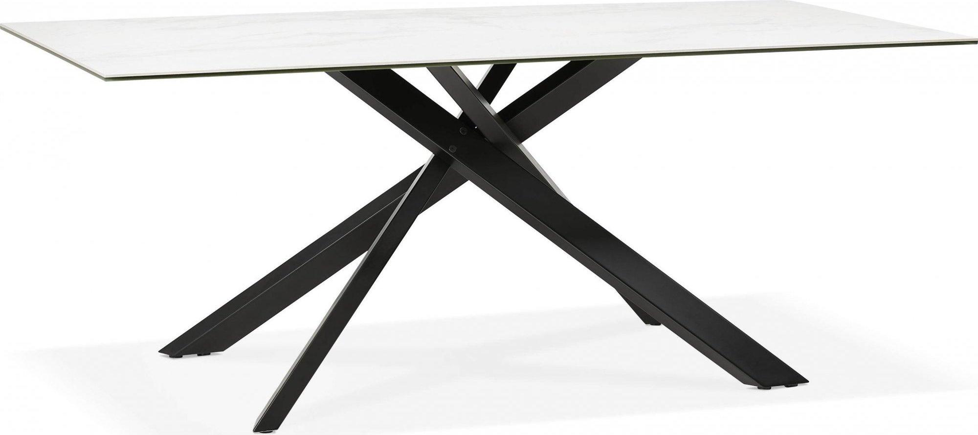 Table à diner en verre blanc pieds acier laqué noir l180cm