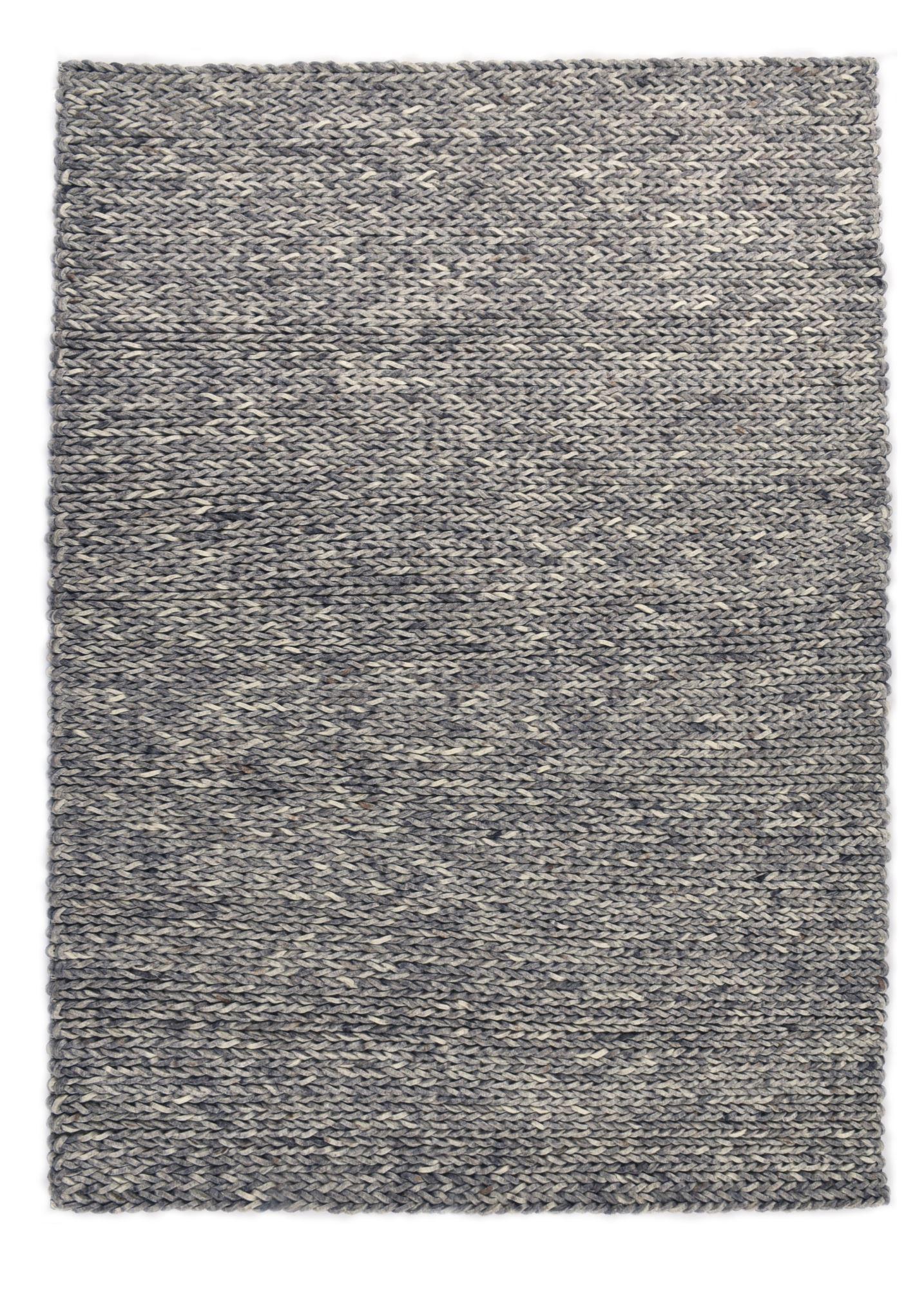 ARLBERG - Tapis feutré en laine naturelle gris 70x140