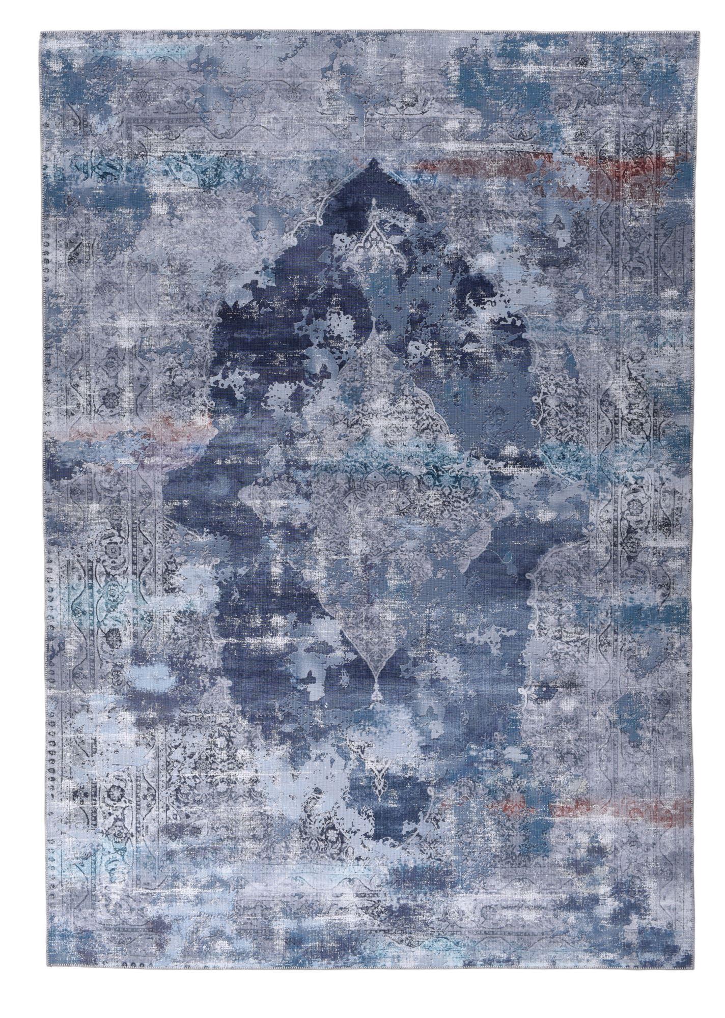 Tapis imprimé en motif vintage bleu 140x200