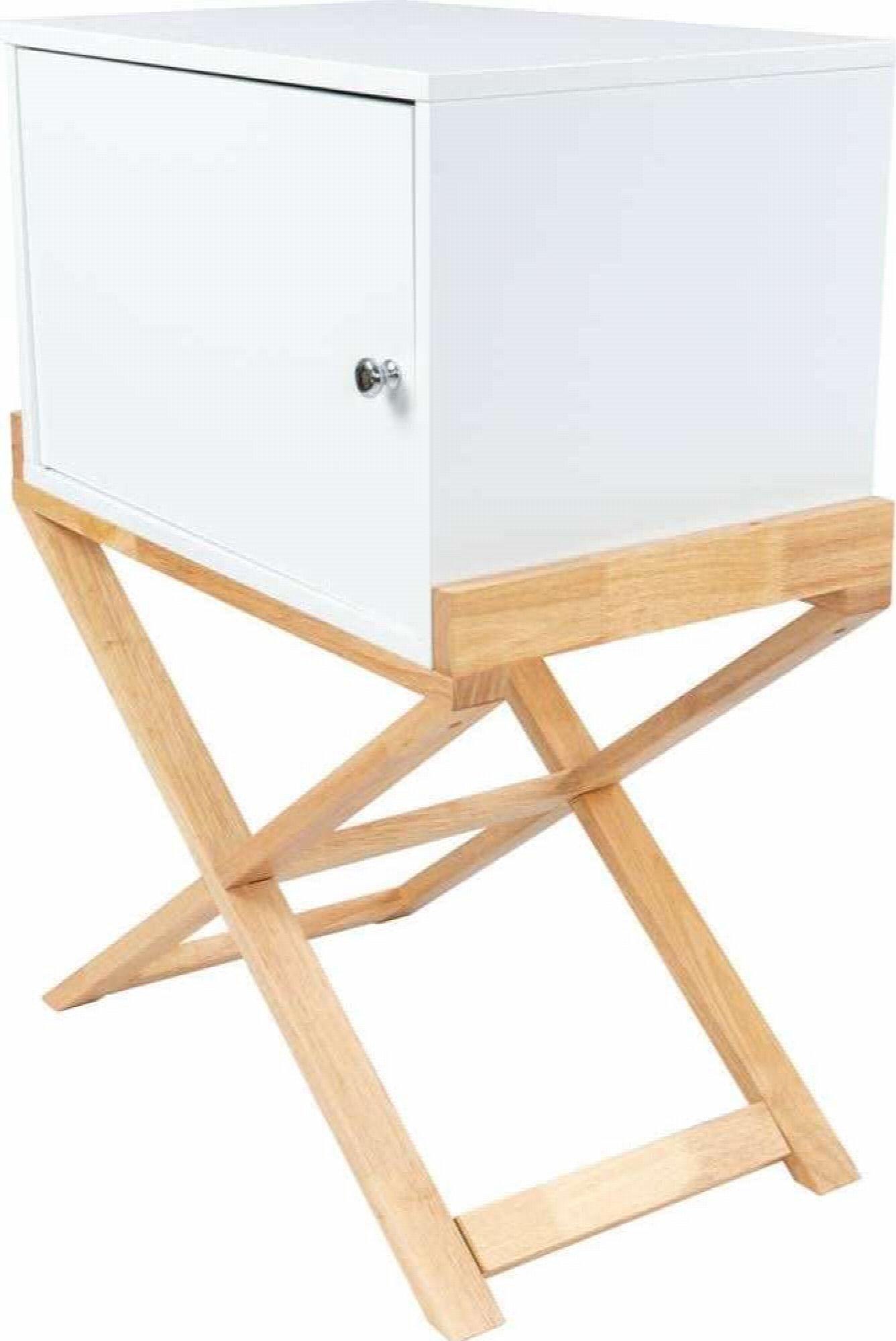 Table de chevet 1 porte couleur blanc et bois clair (photo)