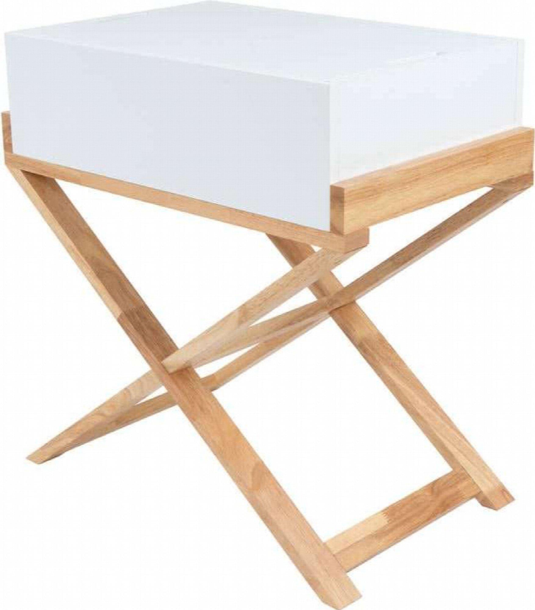 Table de chevet 1 niche couleur blanc et bois clair (photo)