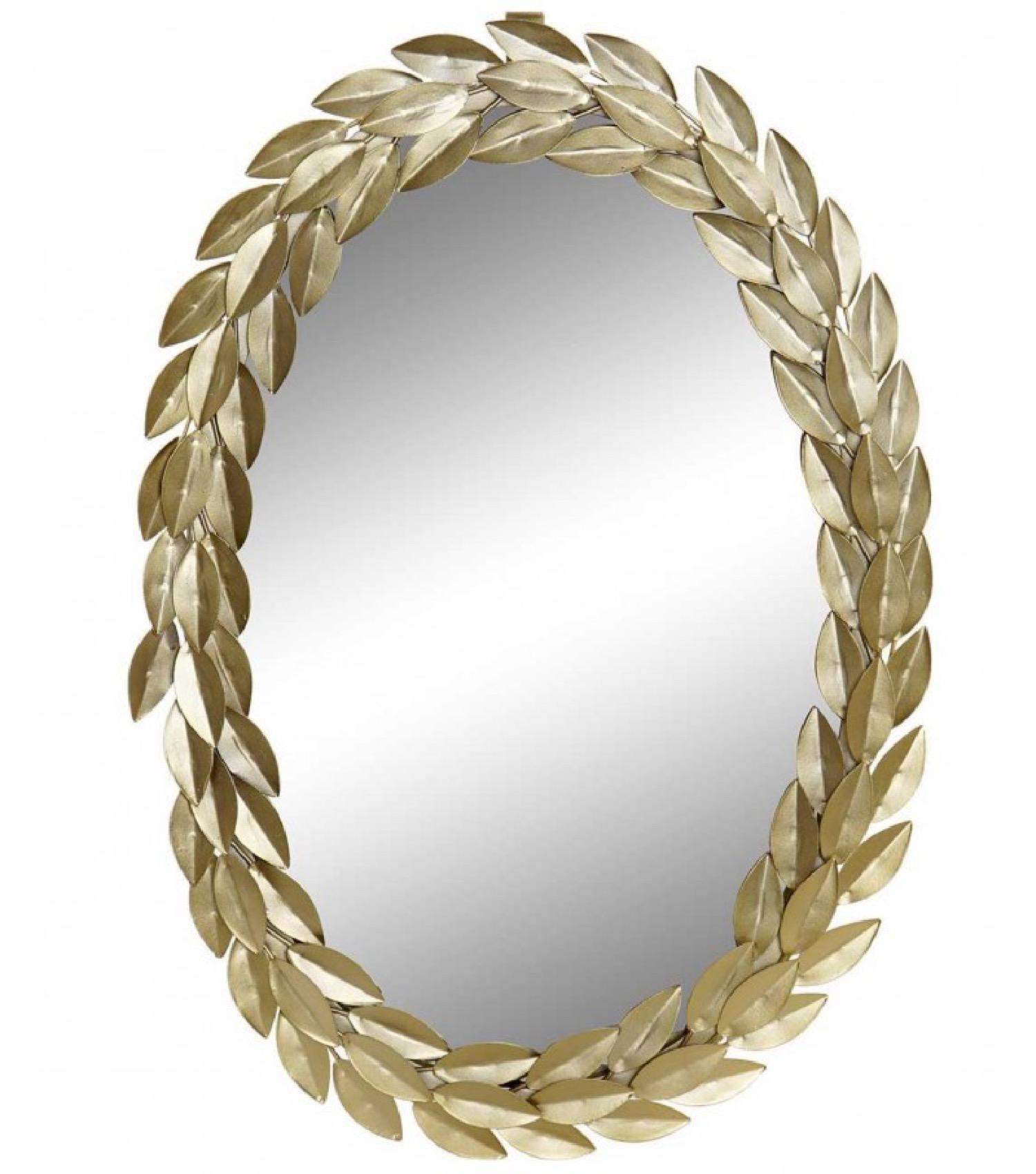 Miroir mural ovale doré 33x49