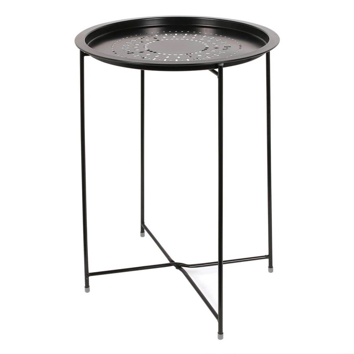 Table d'Appoint Ronde Métallique Noire