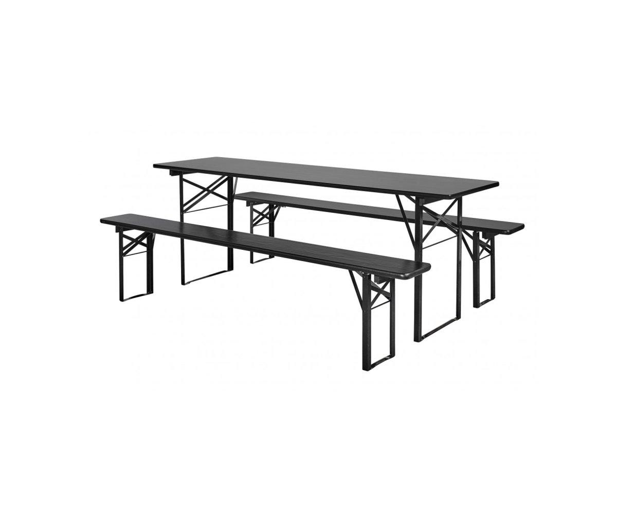 Grande table de jardin avec bancs bois de pin
