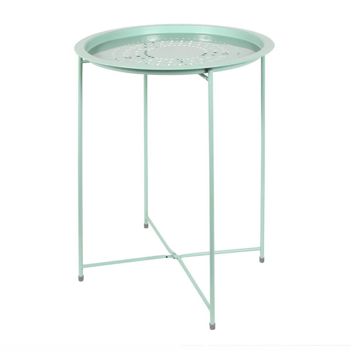 Table d'Appoint Ronde Métallique Vert d'Eau