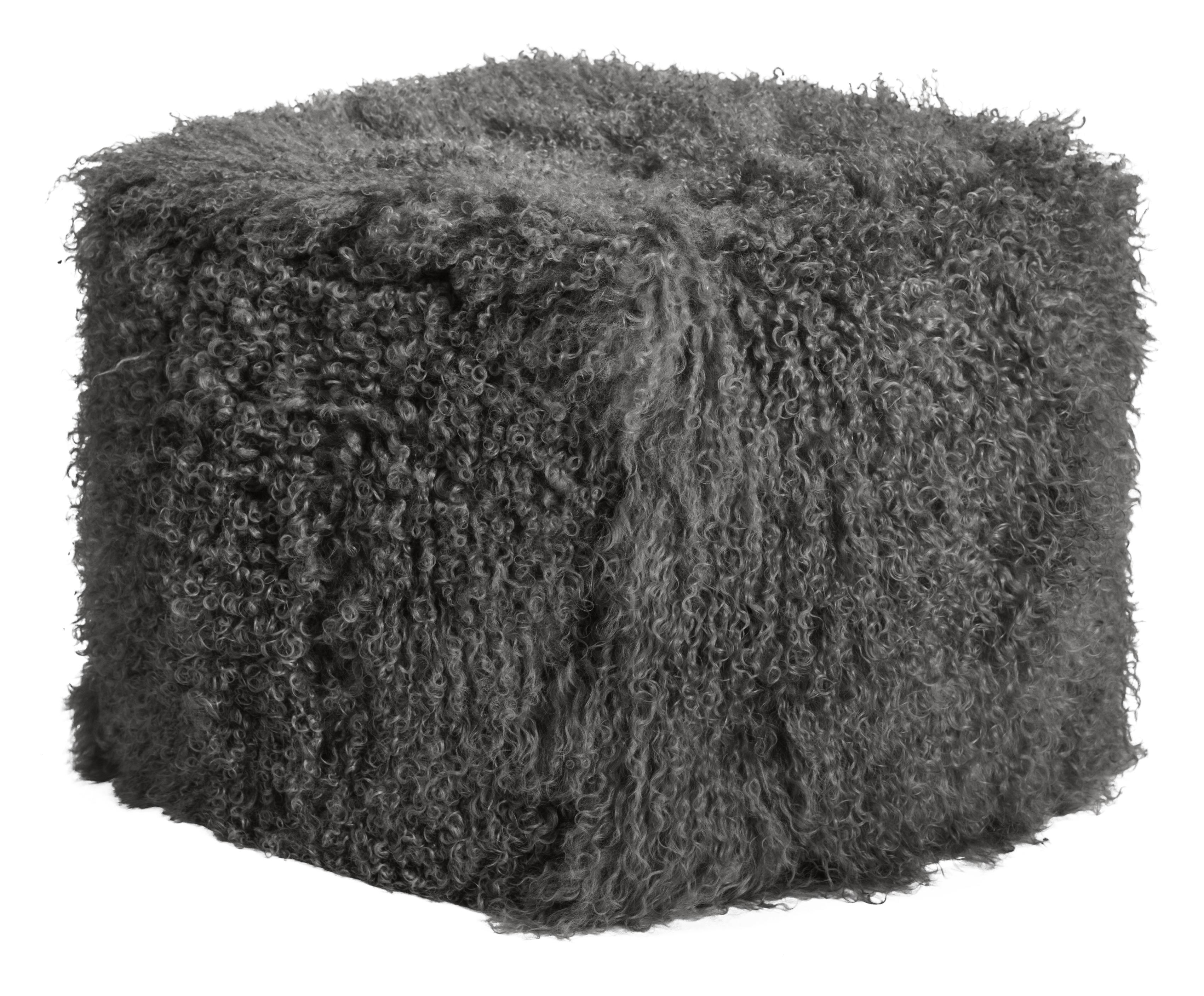 Pouf d'intérieur laine d'agneau tibétain anthracite