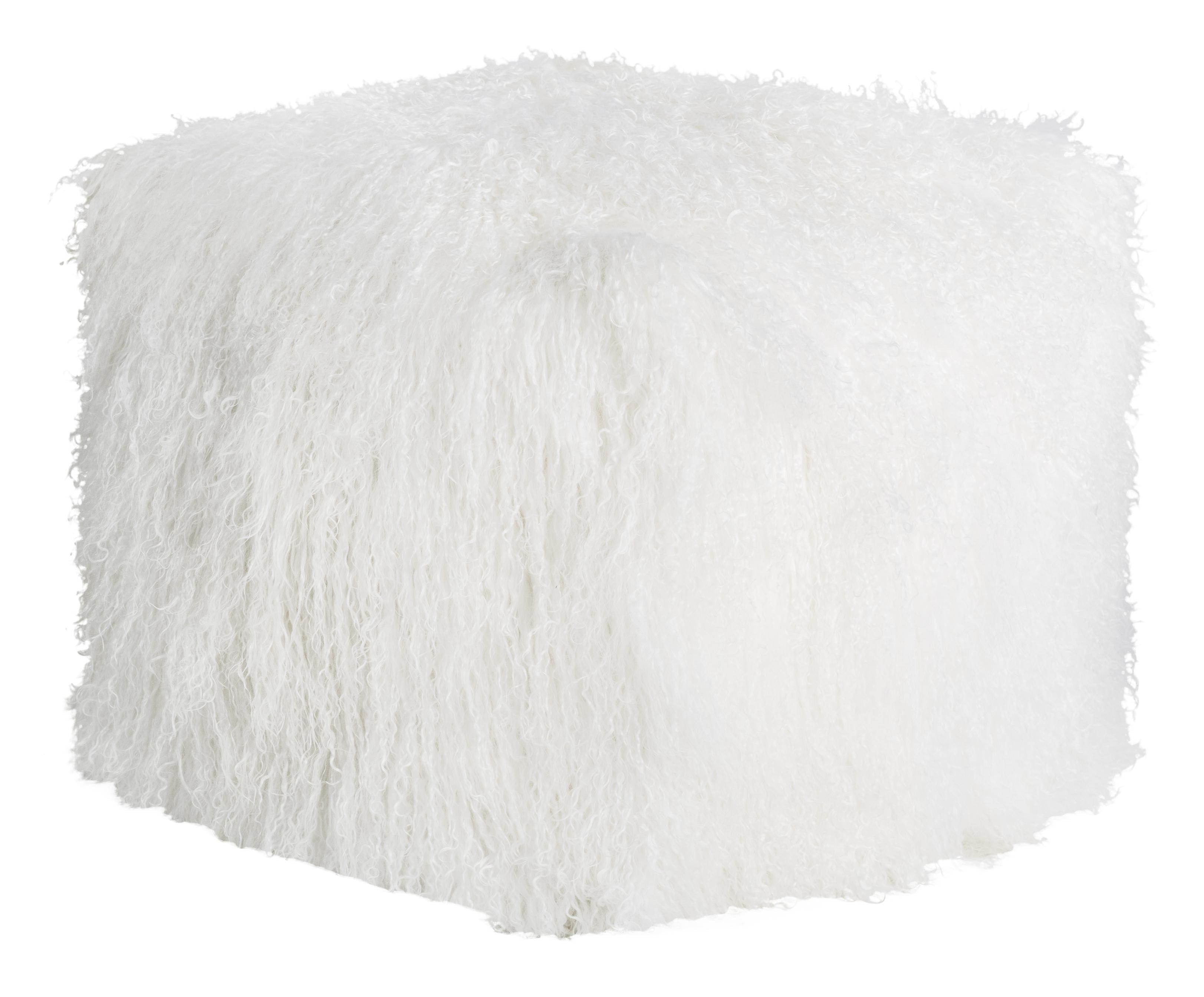 Pouf d'intérieur laine d'agneau tibétain blanc