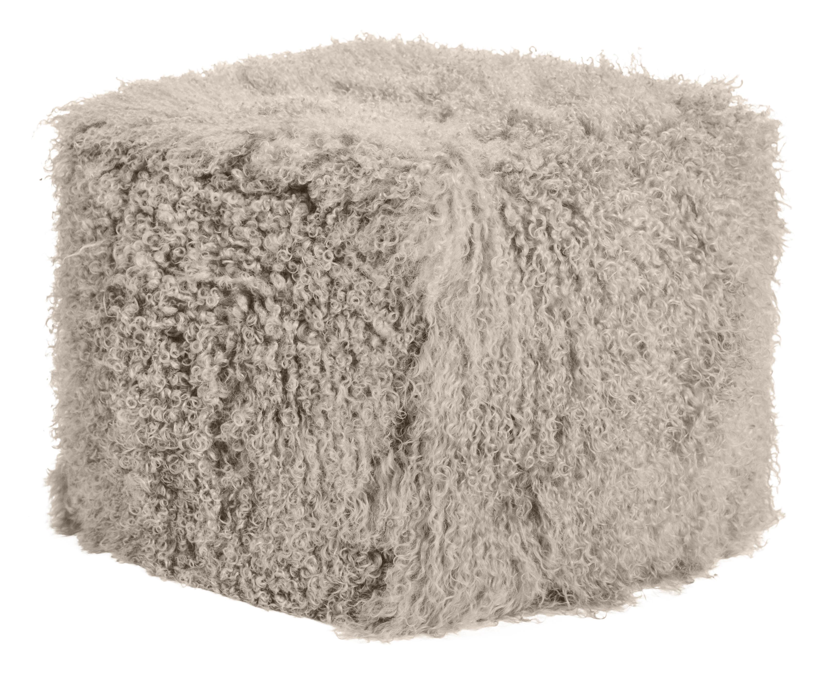 Pouf d'intérieur laine d'agneau tibétain taupe
