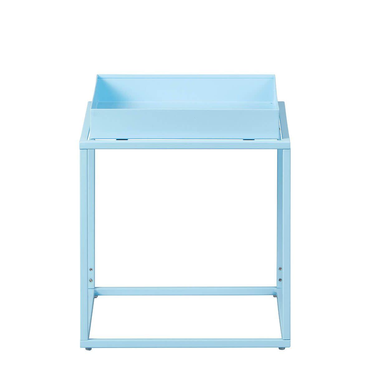 Table d'Appoint Carrée Métallique Bleue