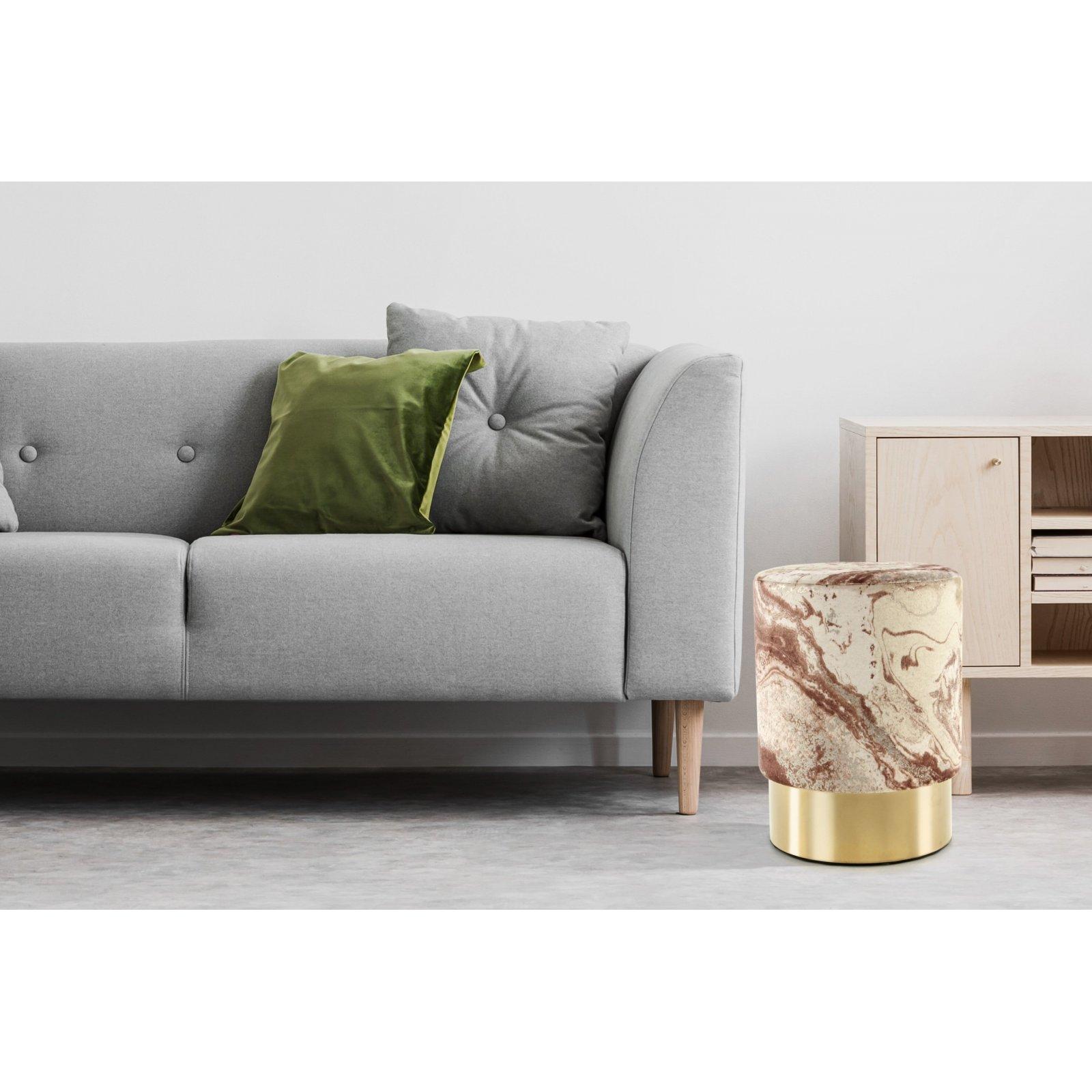 Tabouret en tissu motif marbre bronze et acier doré