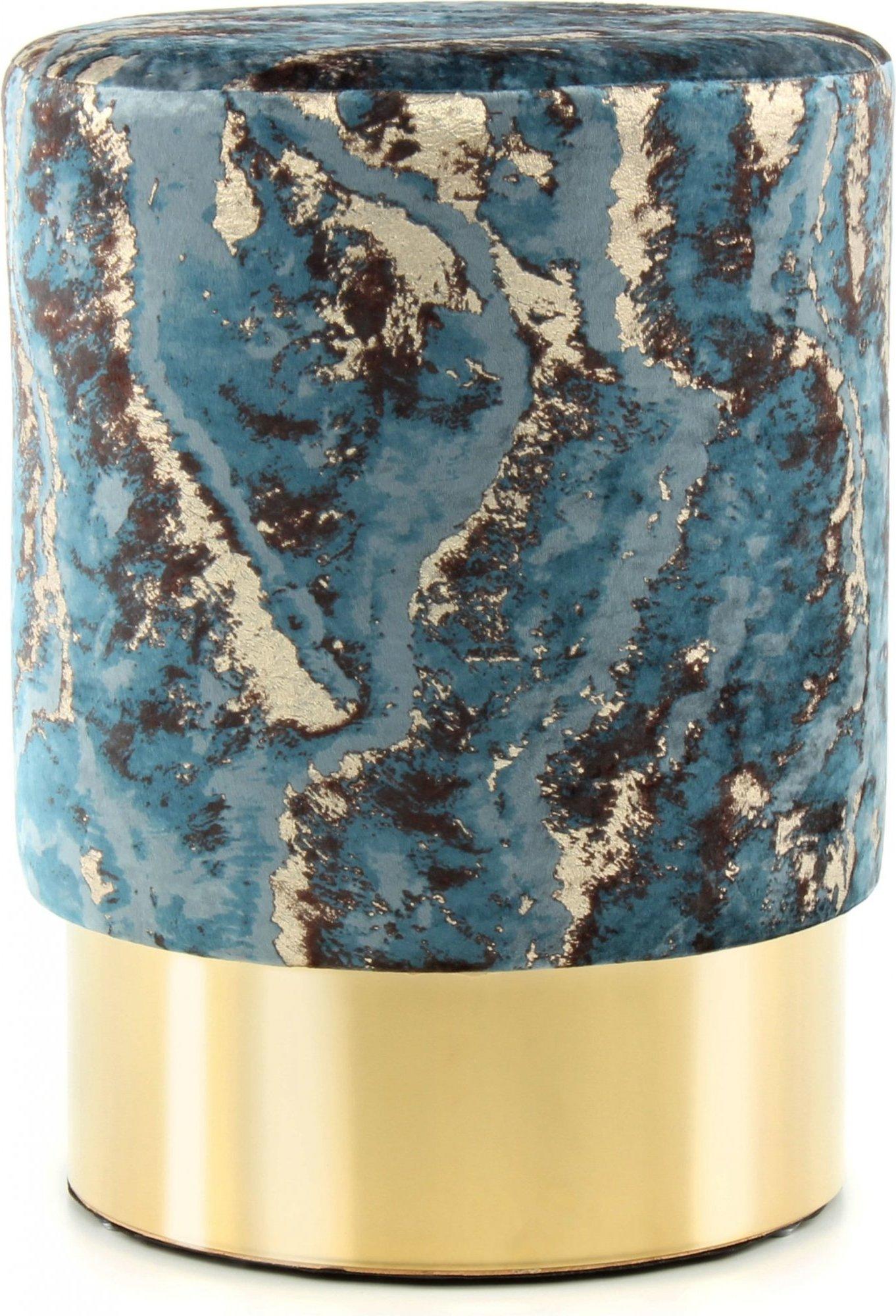 Tabouret en tissu motif marbre bleu foncé et acier doré