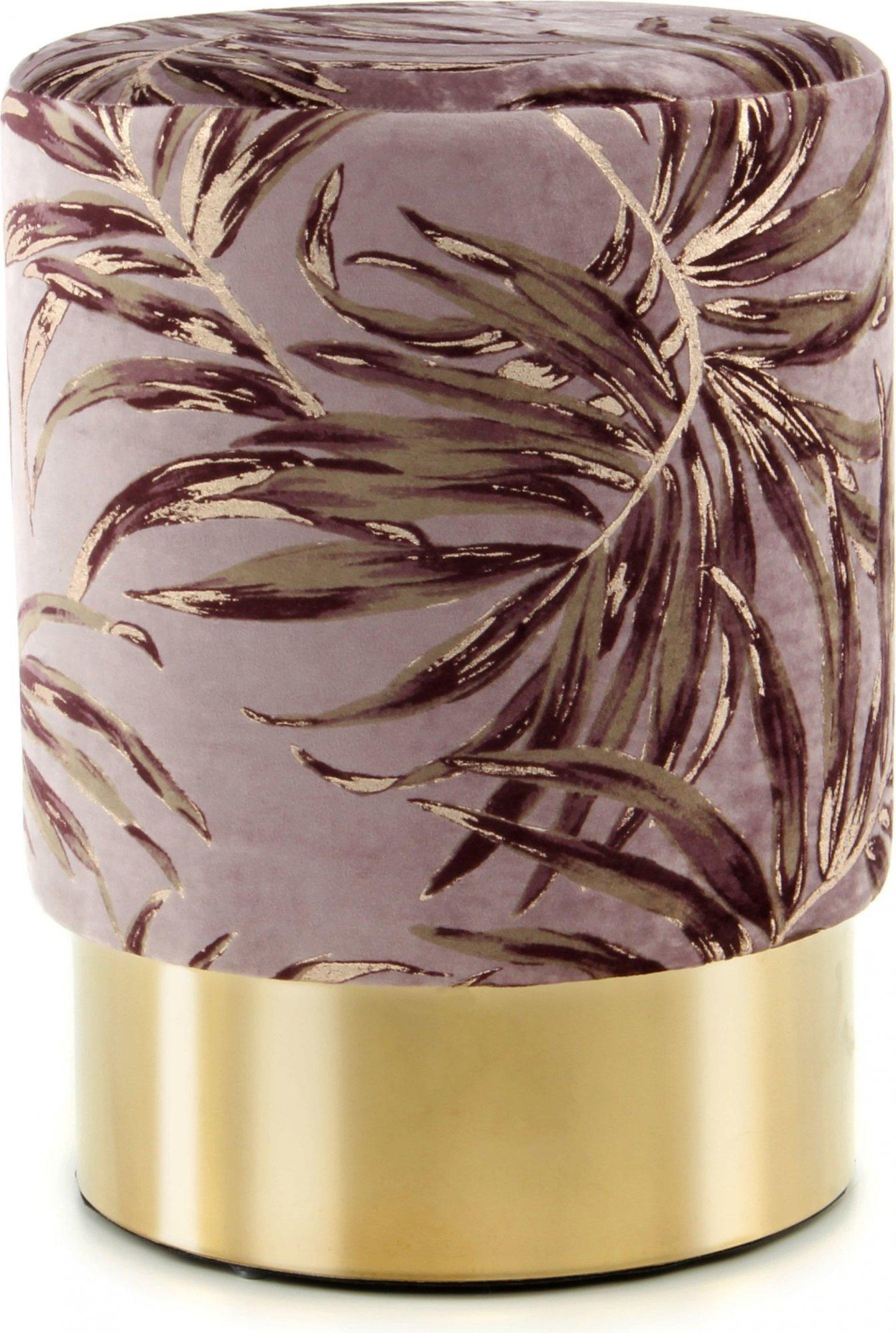 Tabouret en tissu motif feuille violet et acier doré