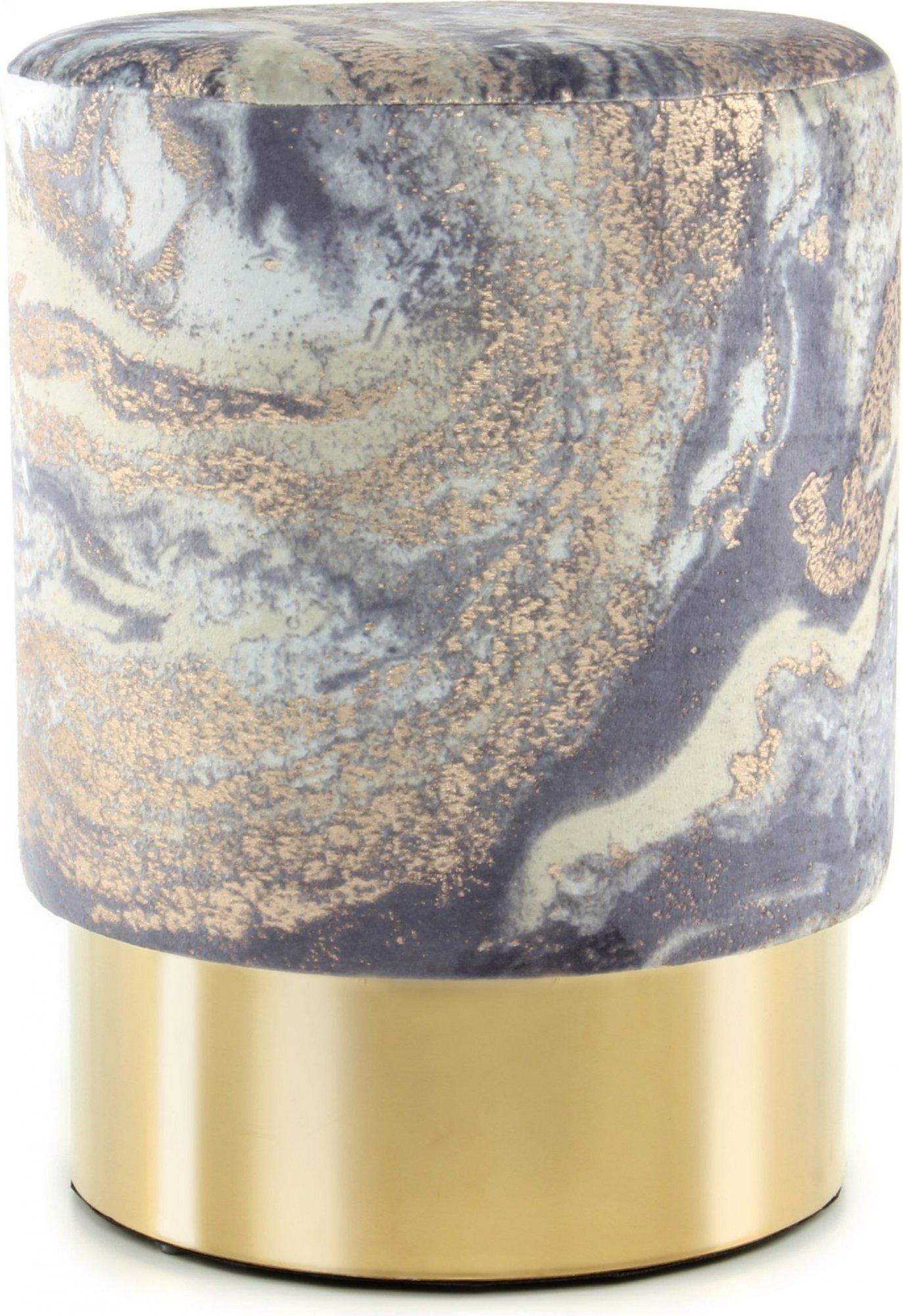 Tabouret en tissu motif marbre bleu clair et acier doré