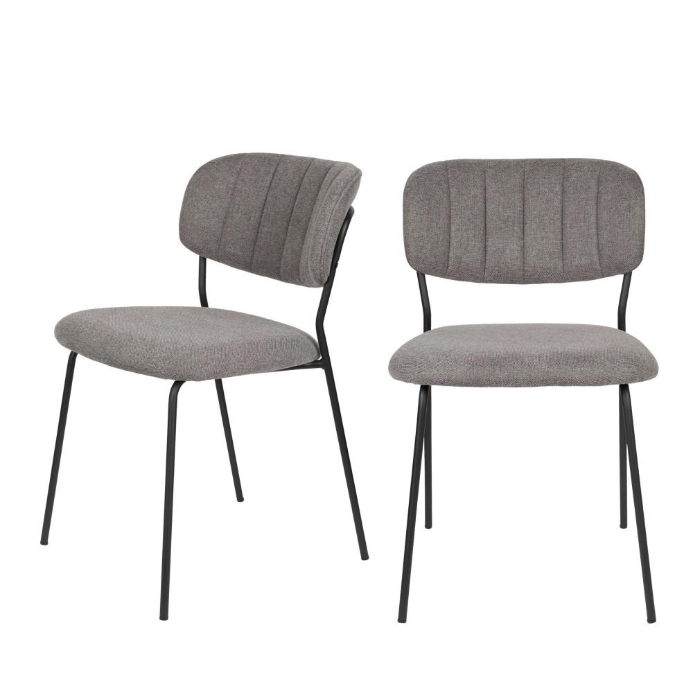 2 chaises pieds noirs gris