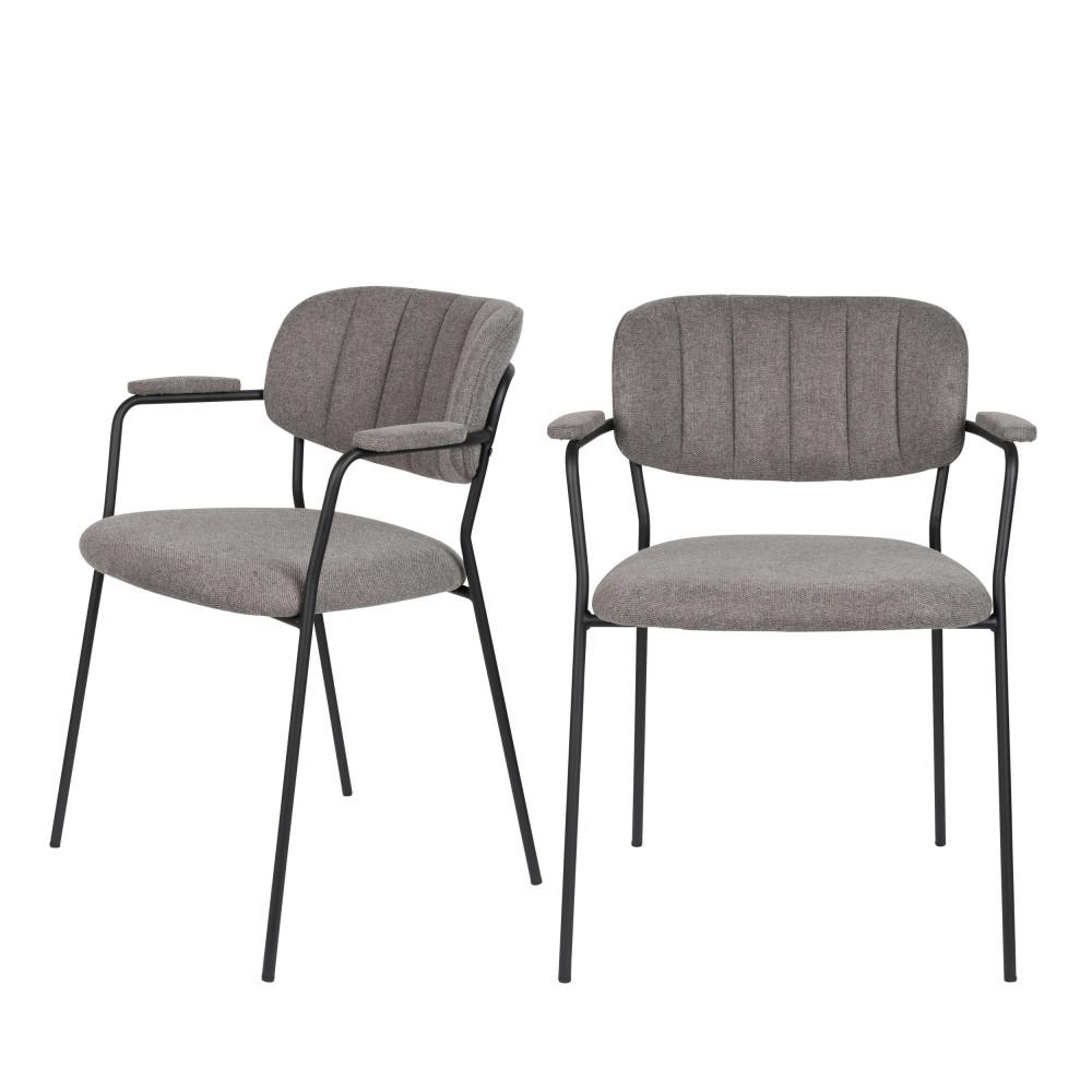 2 chaises avec accoudoirs et pieds noirs gris