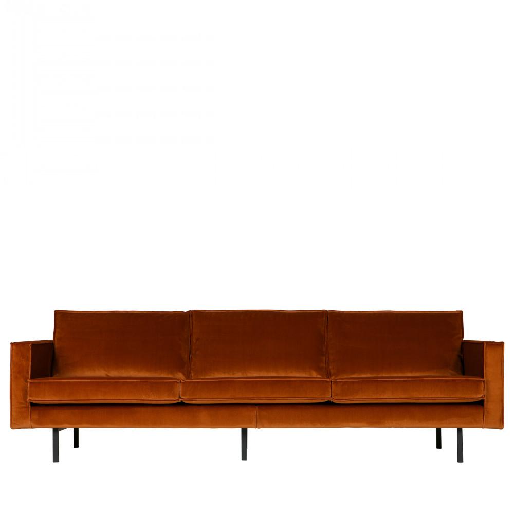 Canapé droit 4 places Gris Velours Design Confort